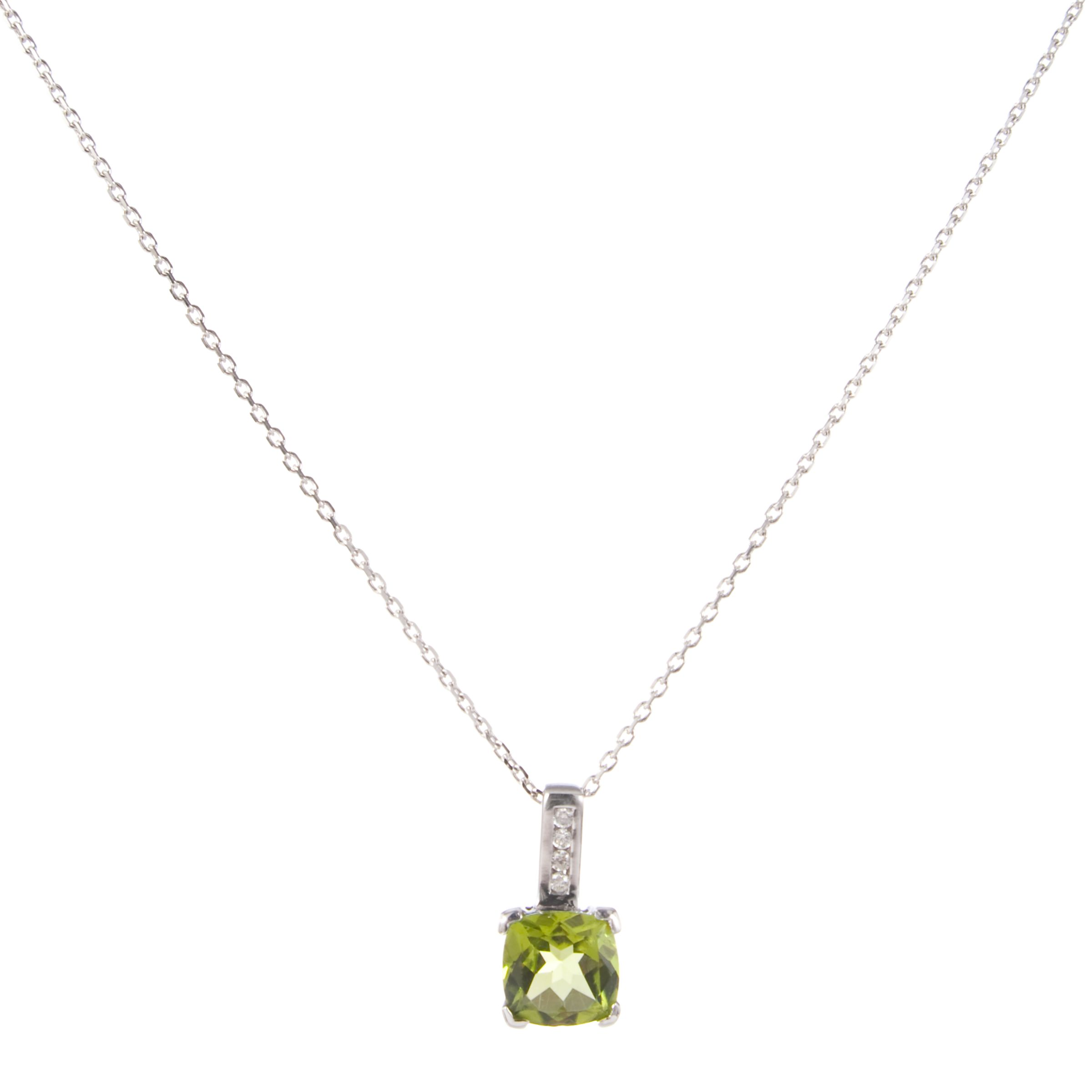 White Gold Cushion Cut Peridot Pendant with Diamond Bar Necklace