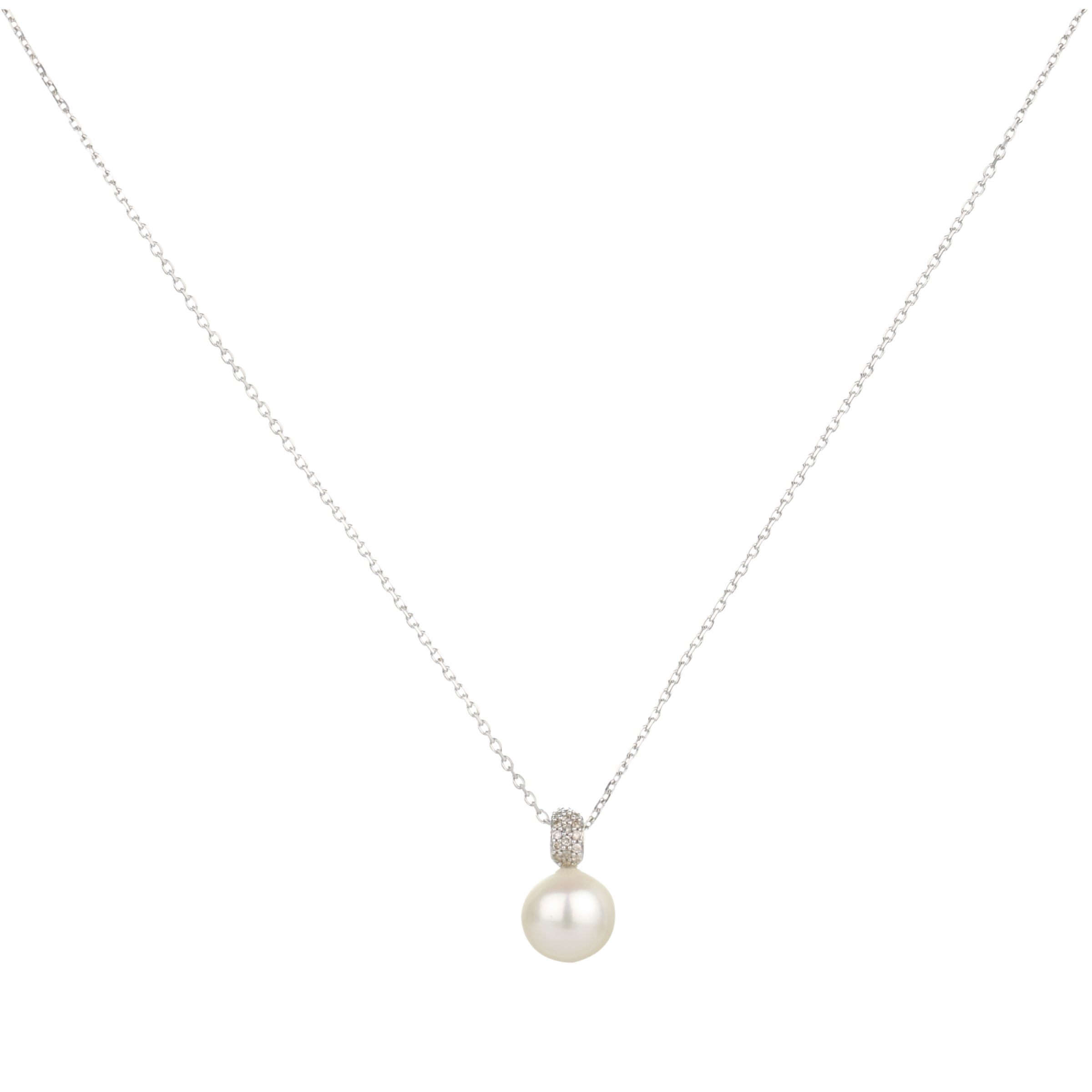 9ct White Gold Diamond Loop White Fresh Water Pearl Pendant Necklace