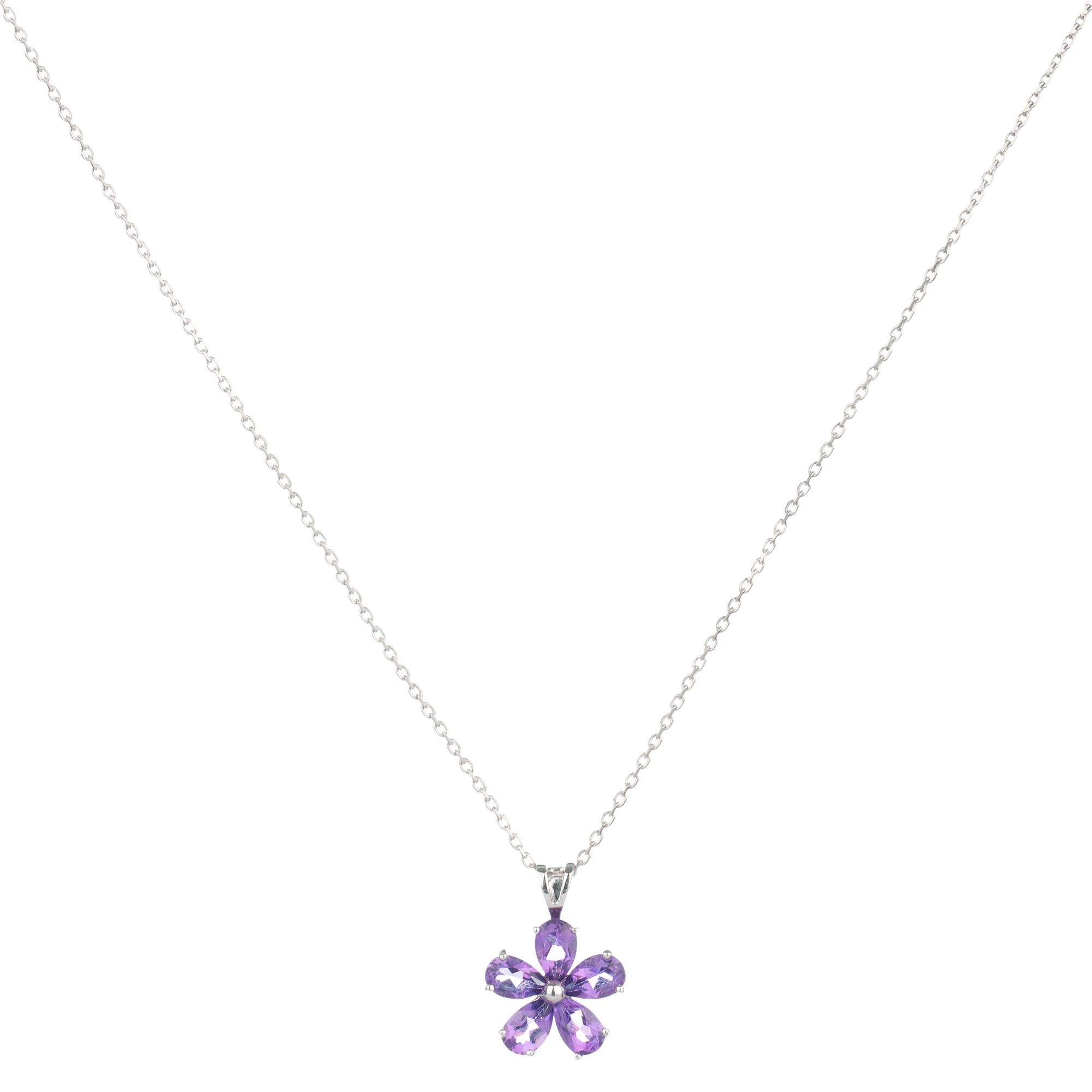 9ct White Gold Amethyst Daisy Flower Pendant Necklace