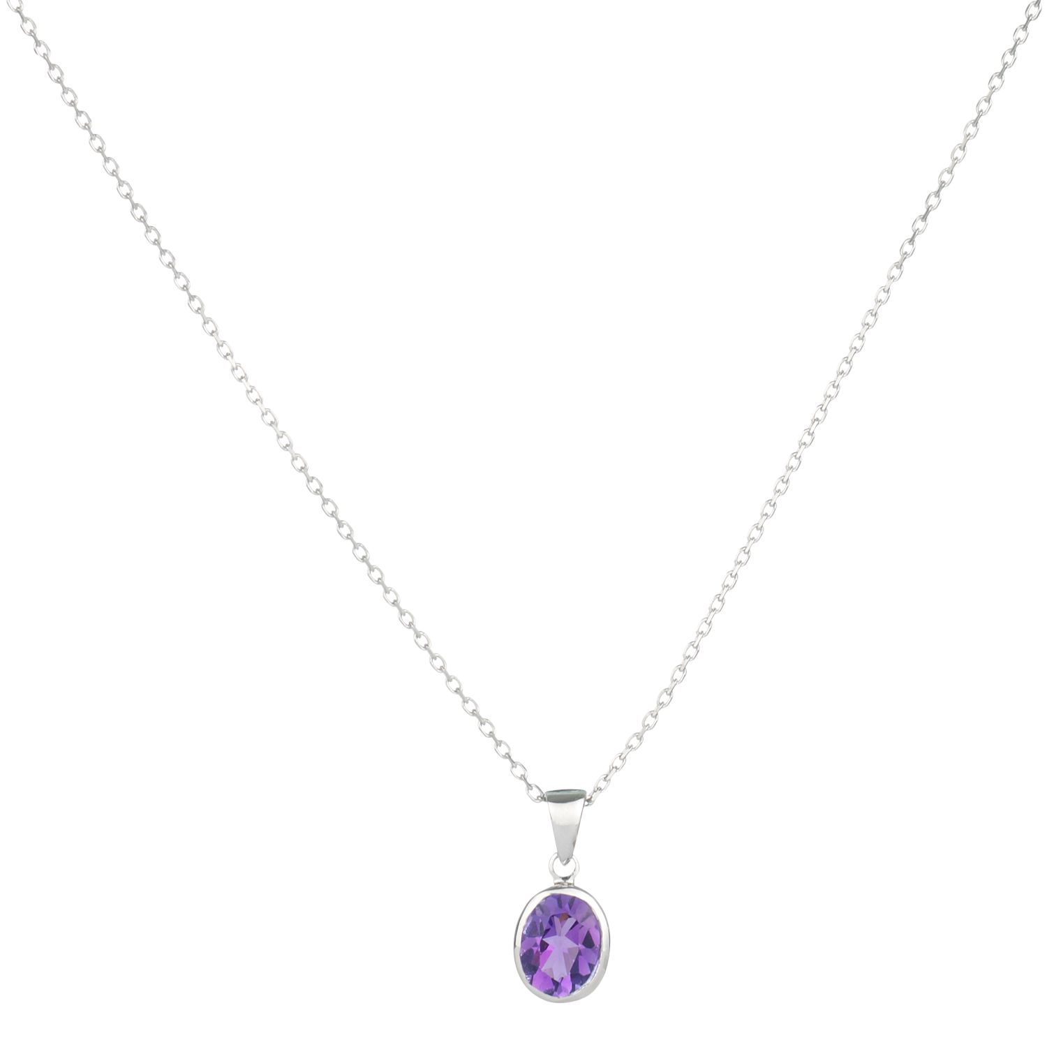 9ct White Gold Amethyst Rubover Oval Pendant Necklace