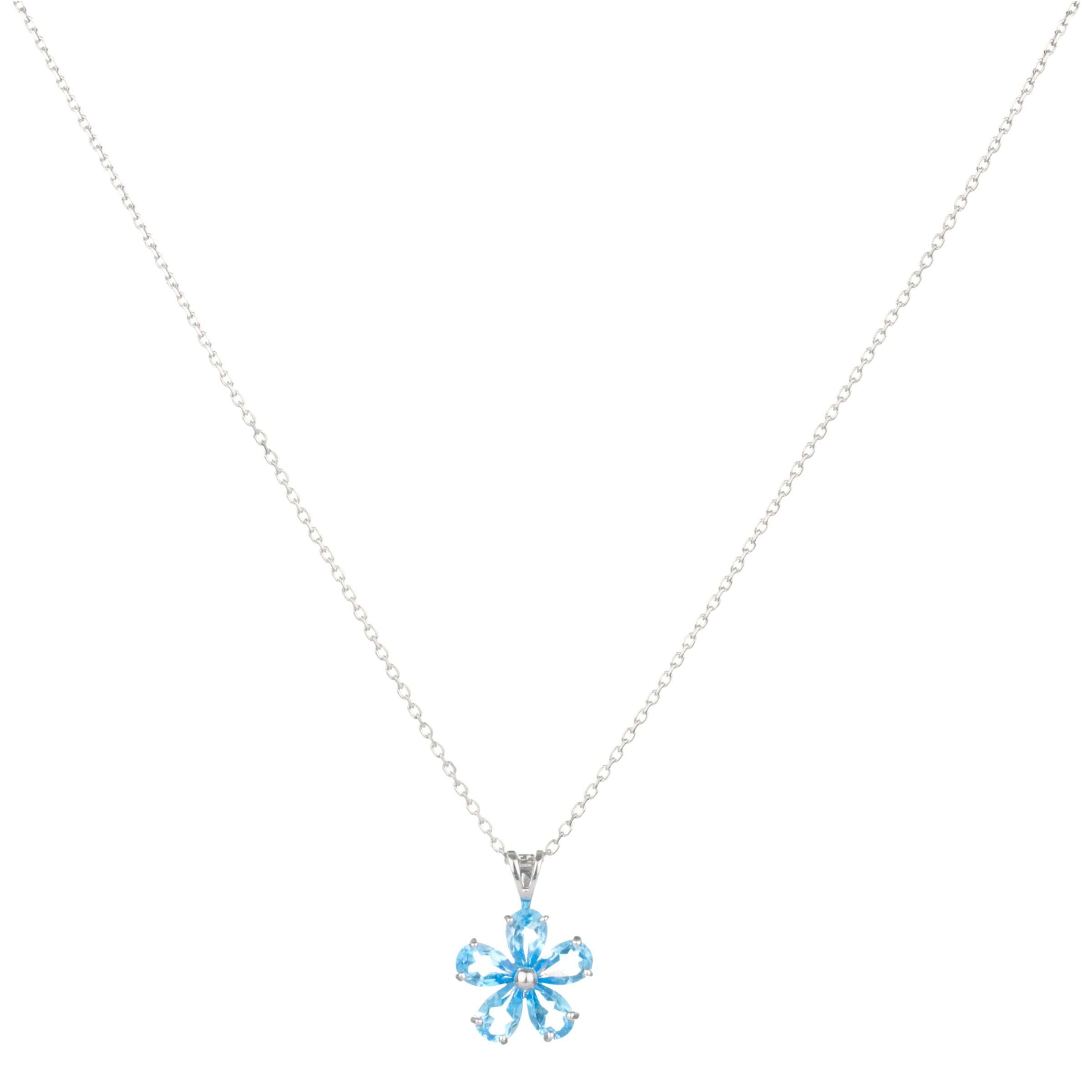 9ct White Gold Blue Topaz Daisy Flower Pendant Necklace