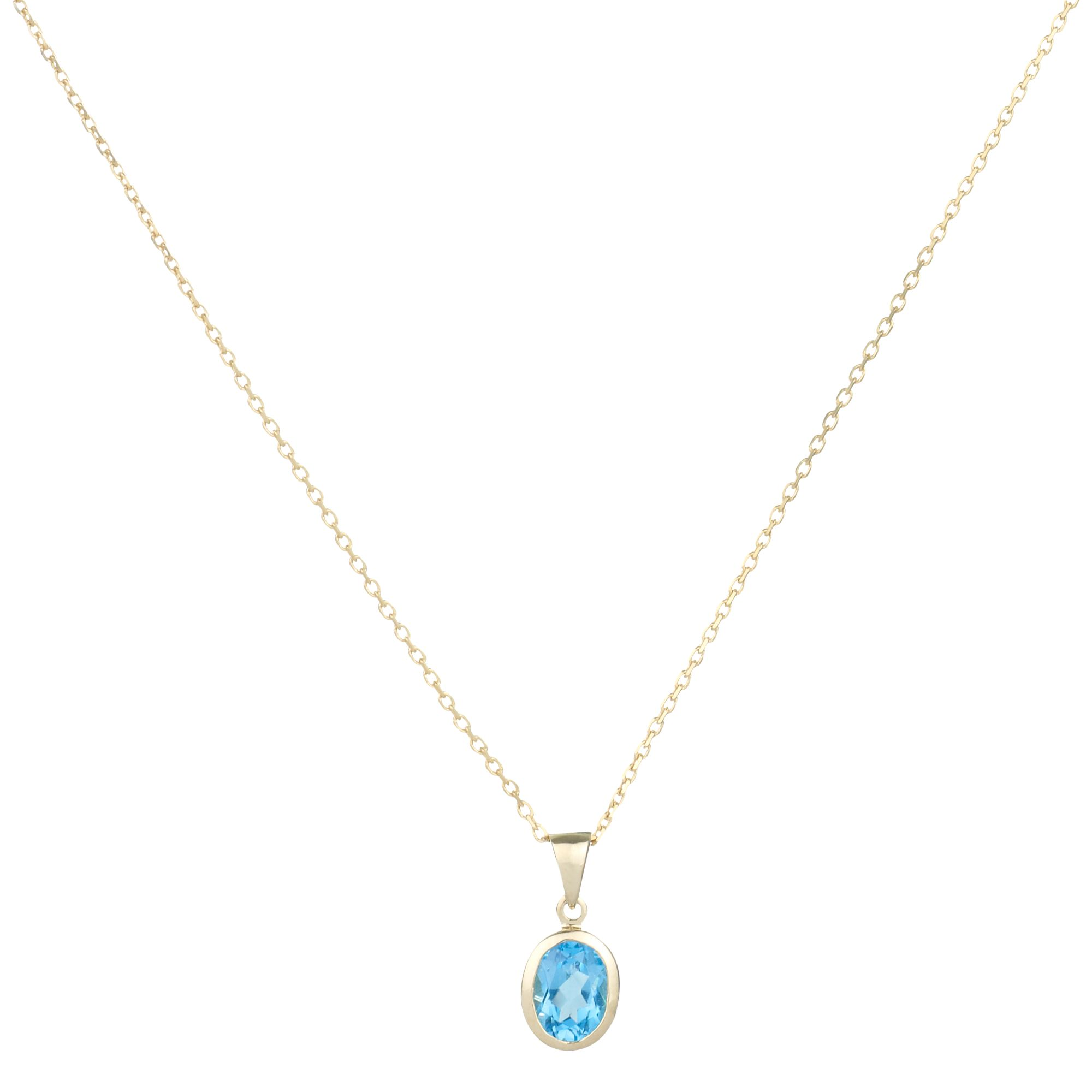 9ct White Gold Blue Topaz Rubover Oval Pendant Necklace