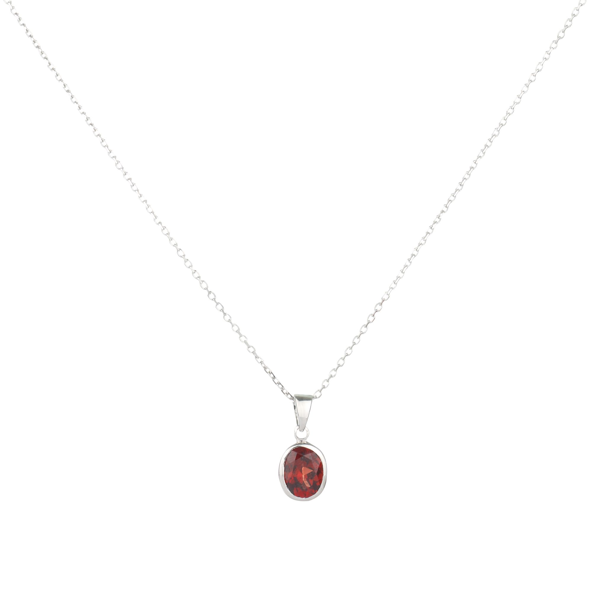9ct White Gold Garnet Rubover Oval Pendant Necklace