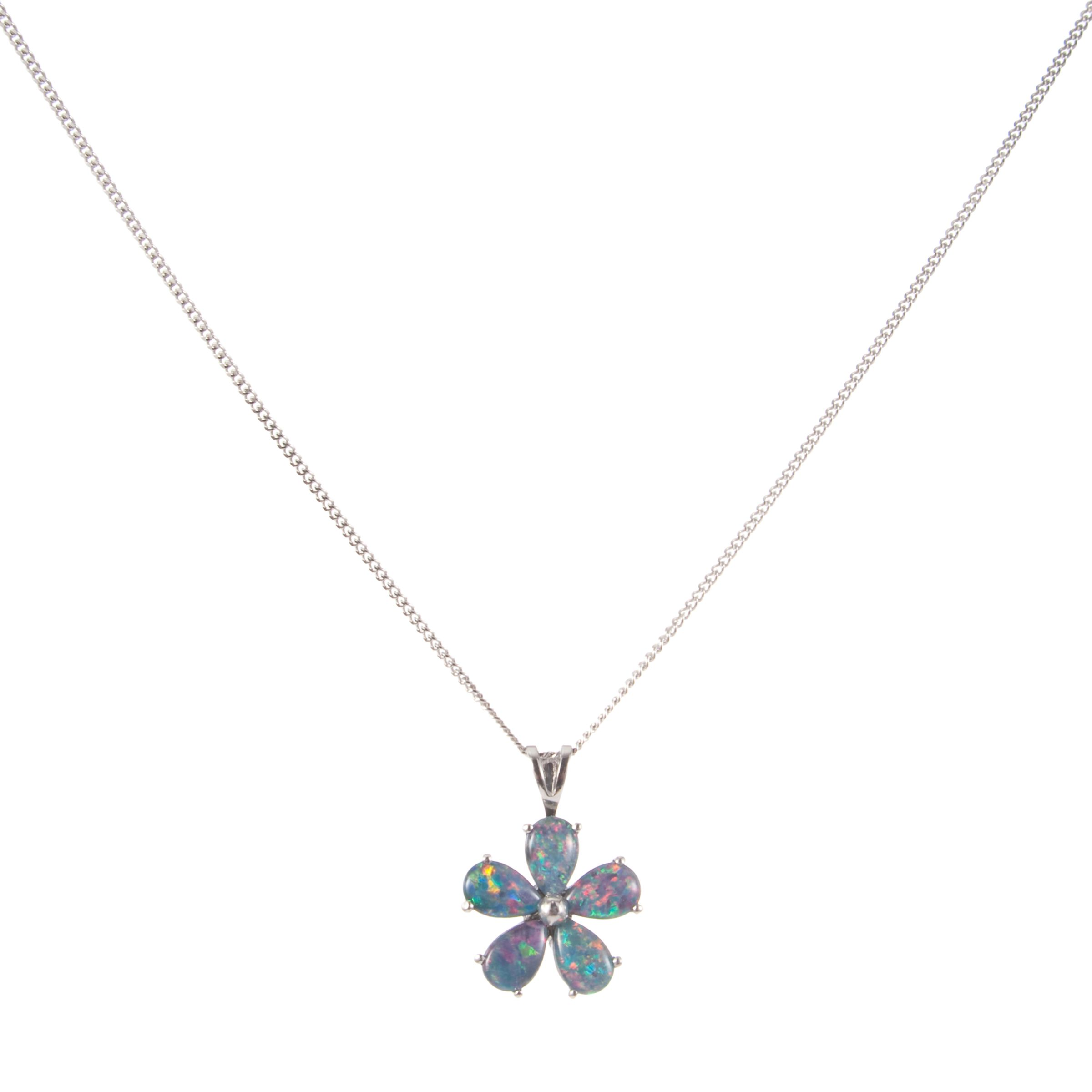9ct White Gold Opal Daisy Pendant Necklace
