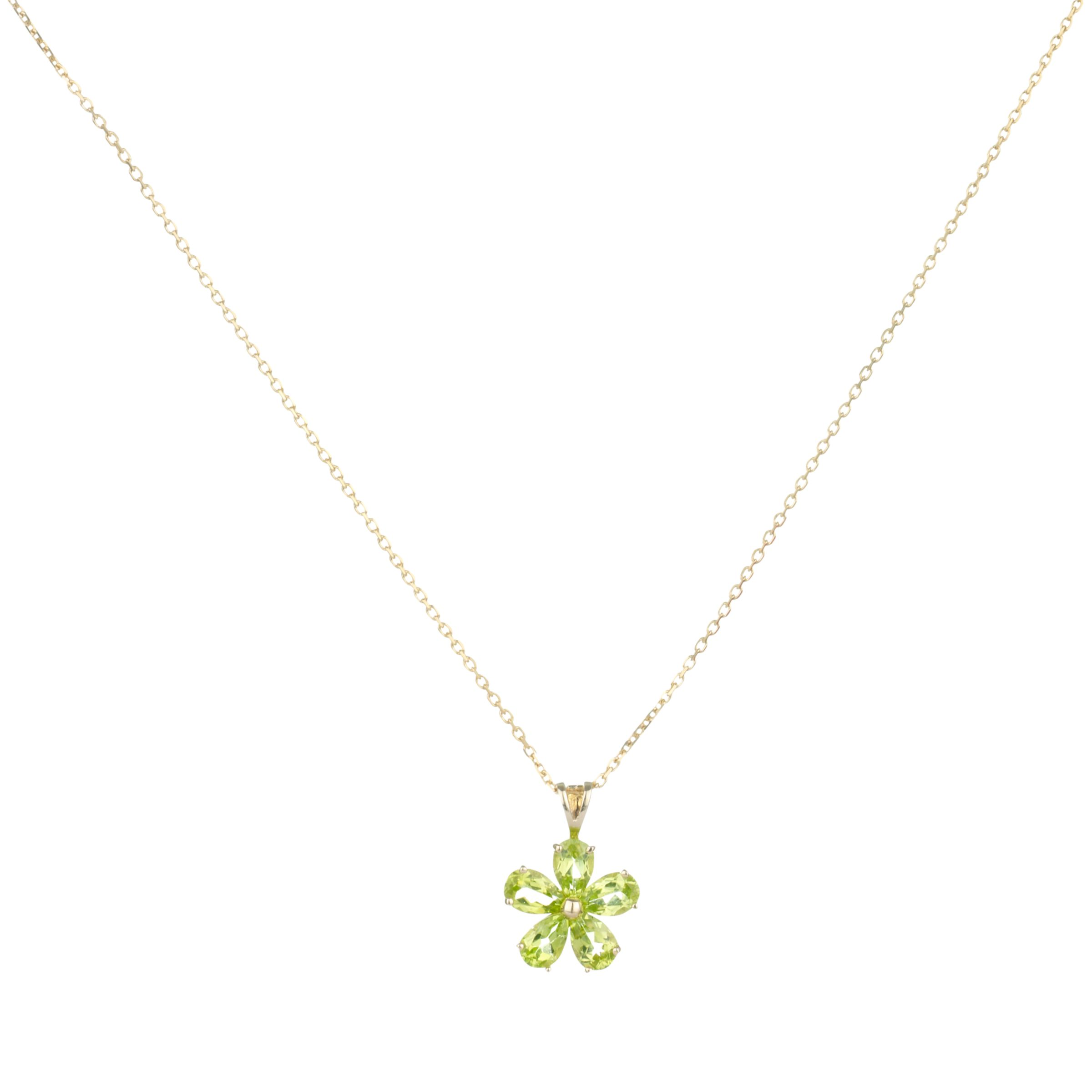 9ct Yellow Gold Peridot Daisy Flower Pendant Necklace