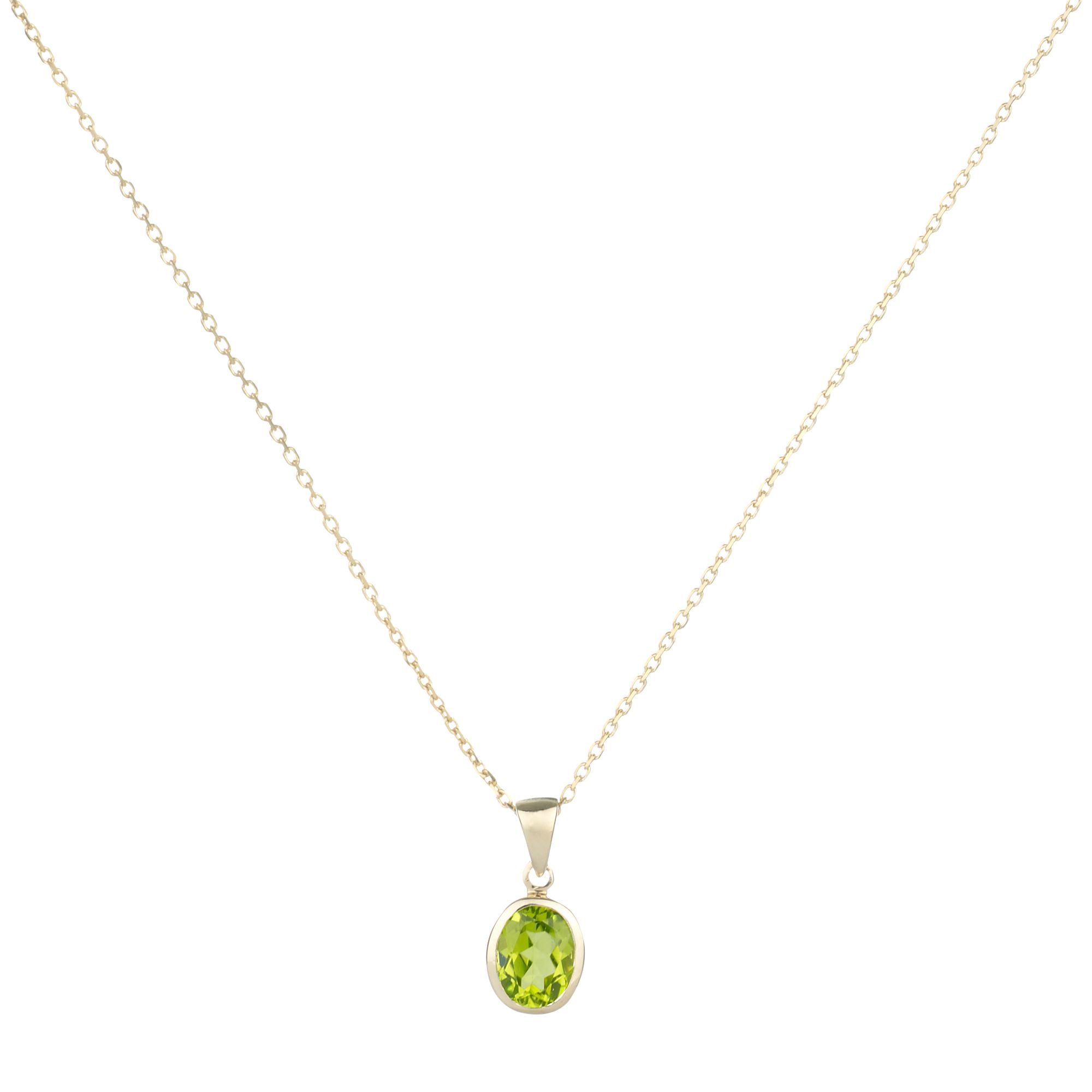 9ct Yellow Gold Peridot Rubover Oval Pendant Necklace
