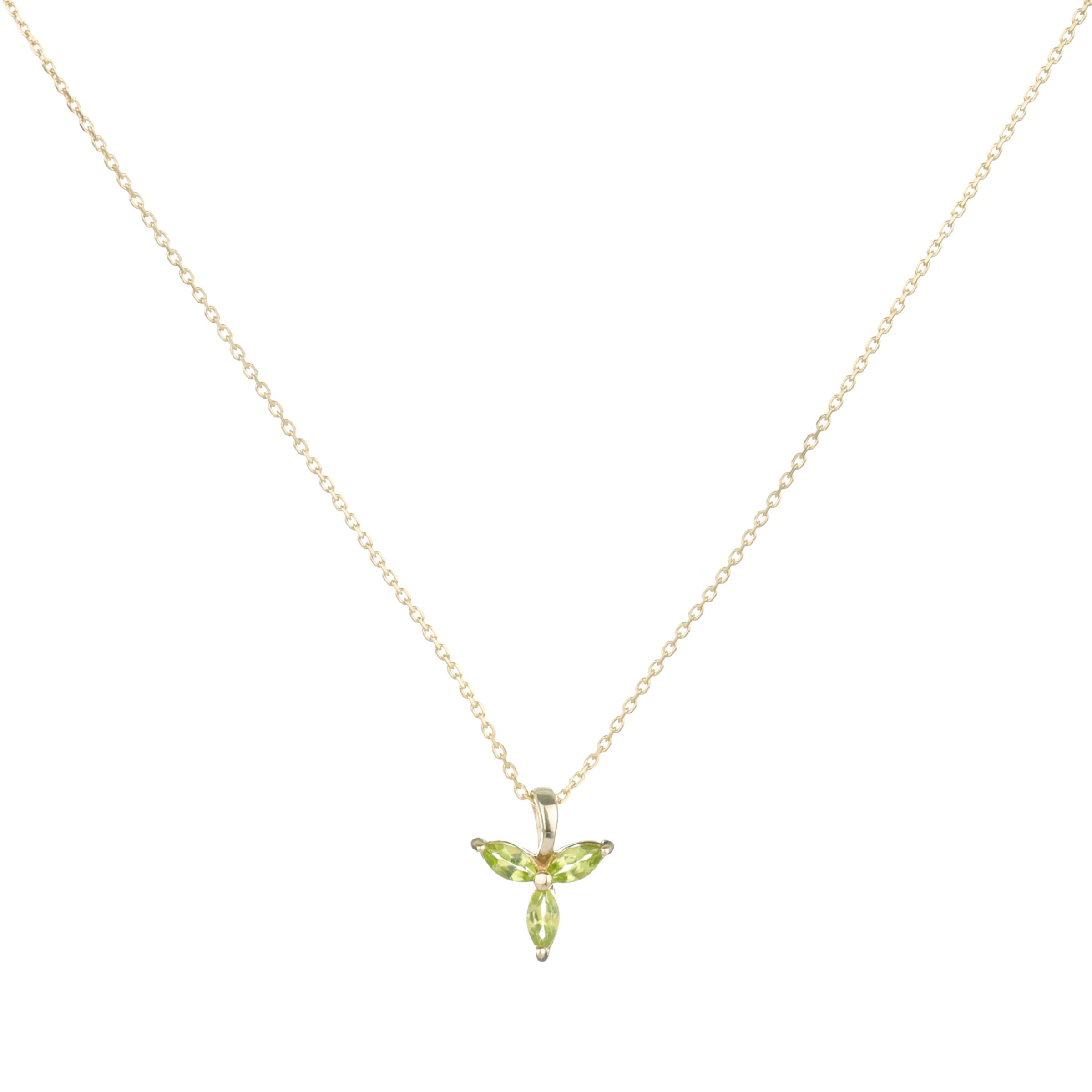9ct Yellow Gold Peridot Tri Marquise Pendant Necklace