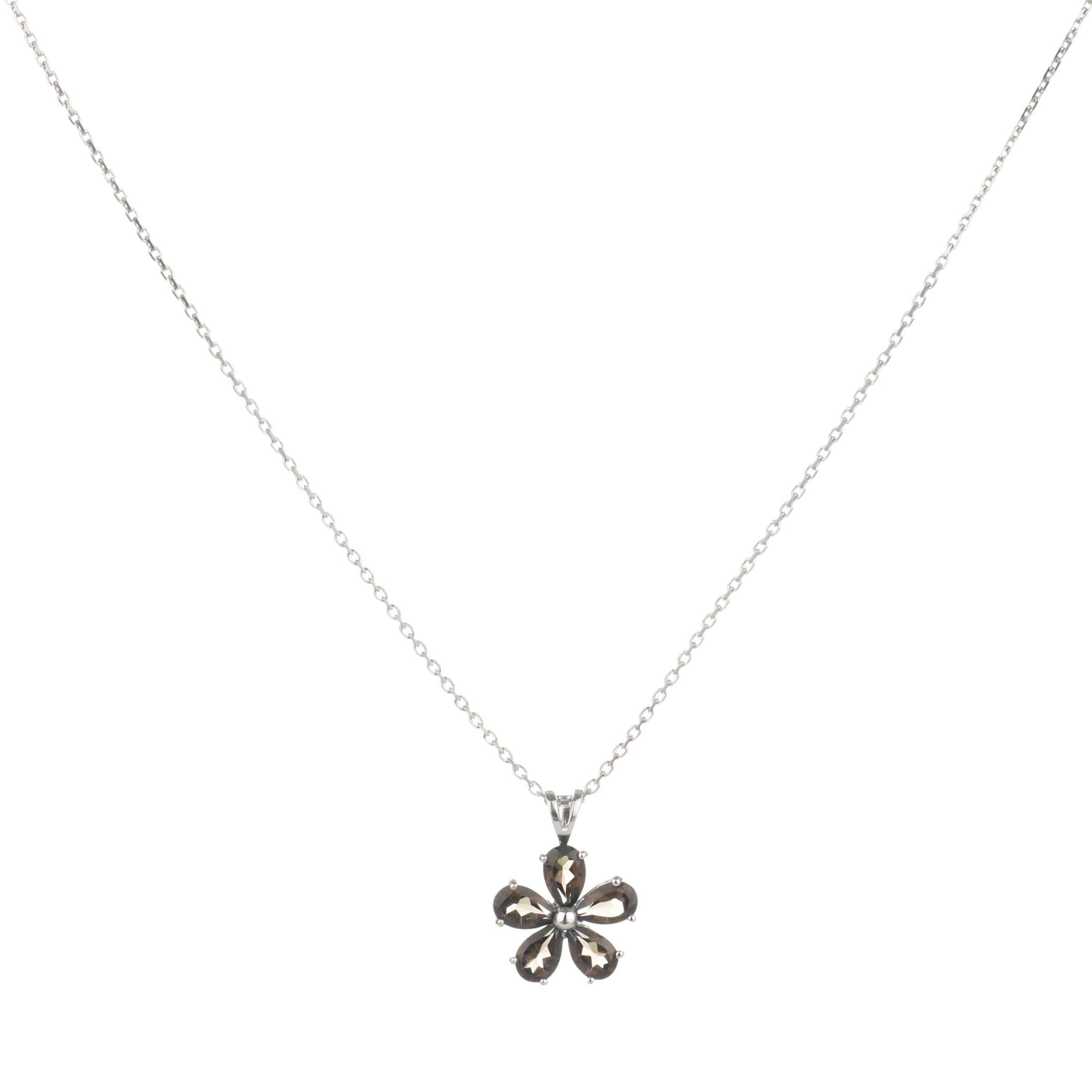 9ct White Gold Smokey Quartz Daisy Pendant Necklace
