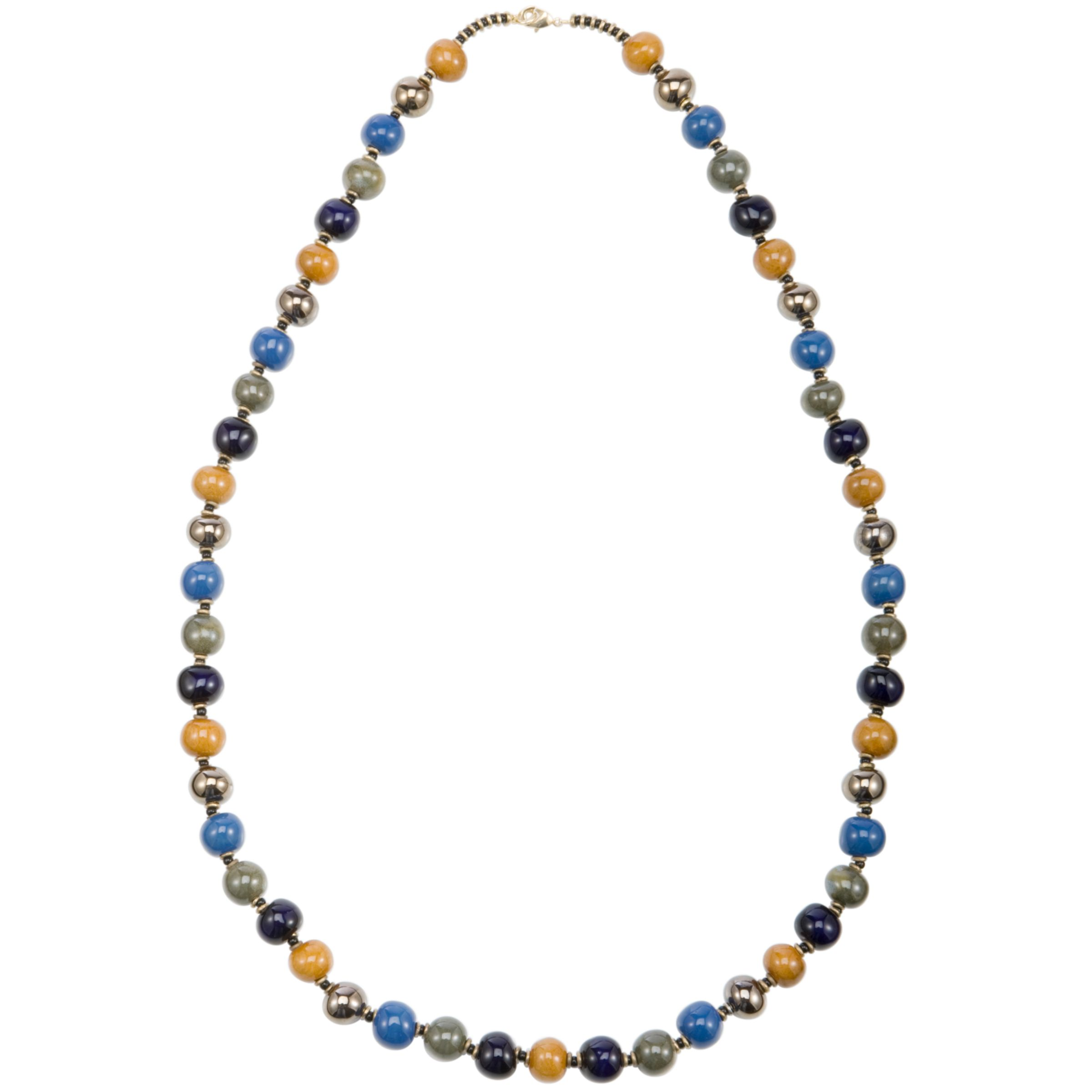 Kazuri Balloon Ceramic Bead Firefly Necklace, Lapis