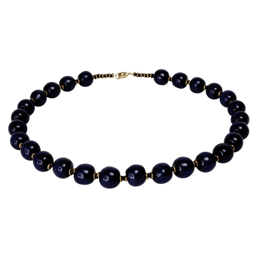 Kazuri Balloons Round Ceramic Bead Necklace, Midnight