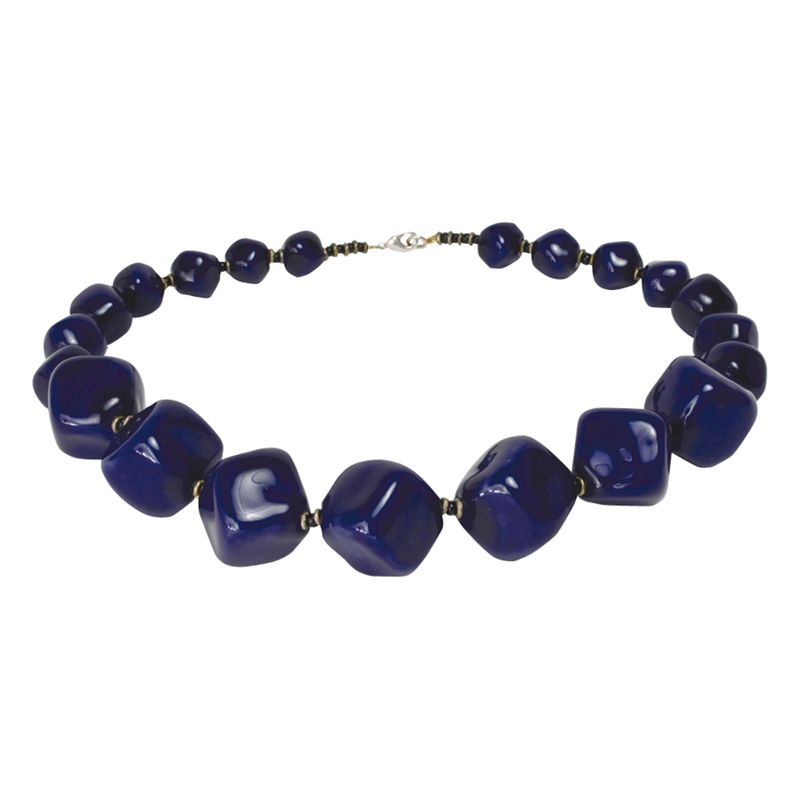 Kazuri Cubes 7 Midnight Ceramic Bead Necklace, Blue