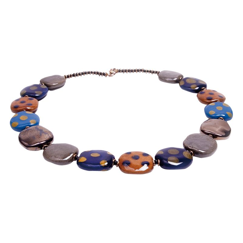 Kazuri Lapis Pebbles Ceramic Bead Necklace, Multi