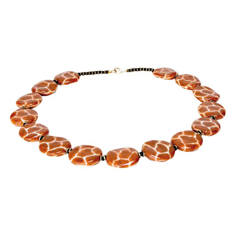 Kazuri Pit Pat Giraffe Ceramic Bead Necklace