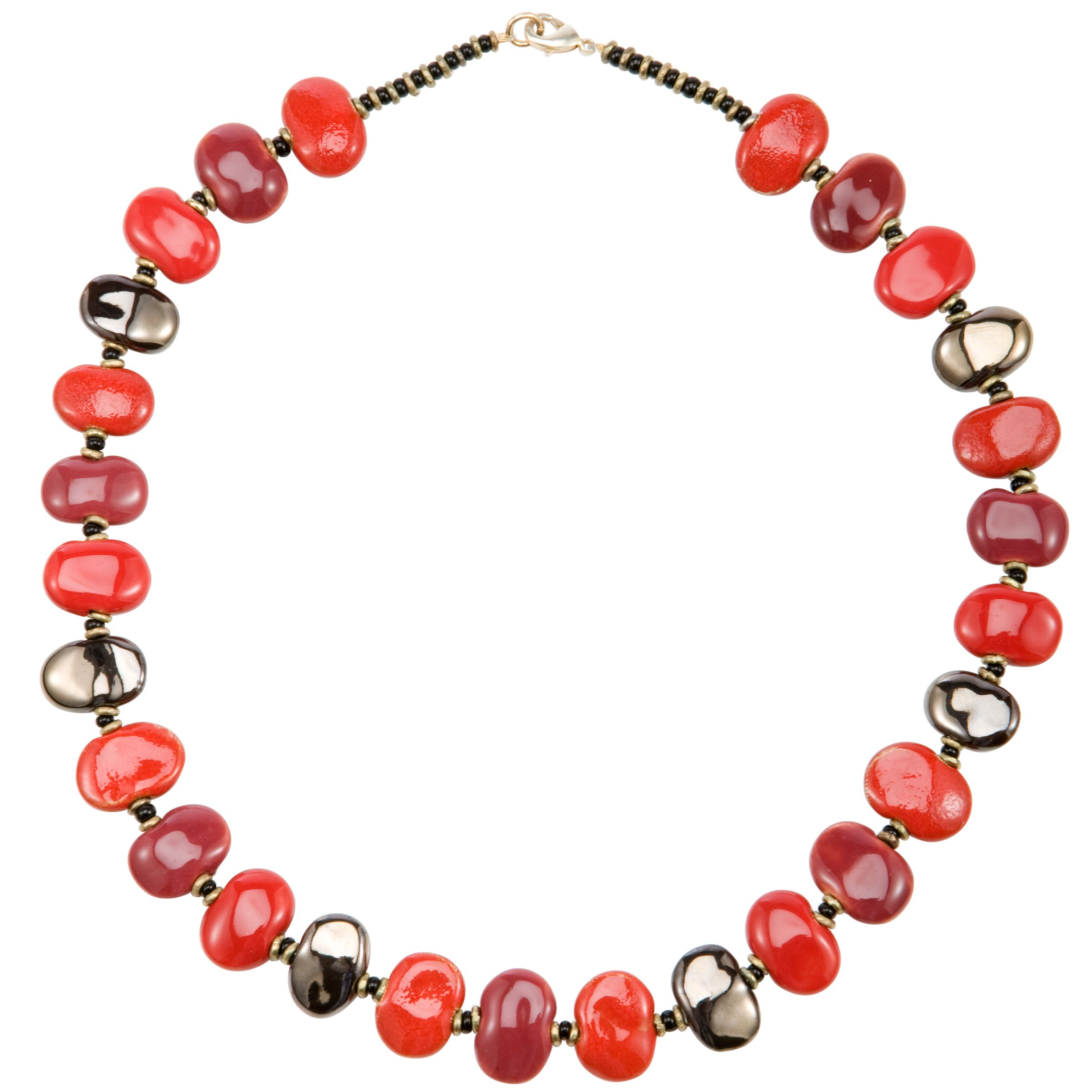 Kazuri Shale Firefly Ceramic Bead Necklace, Red