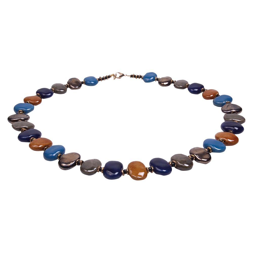 Kazuri Shale Lapis Ceramic Bead Necklace, Multi