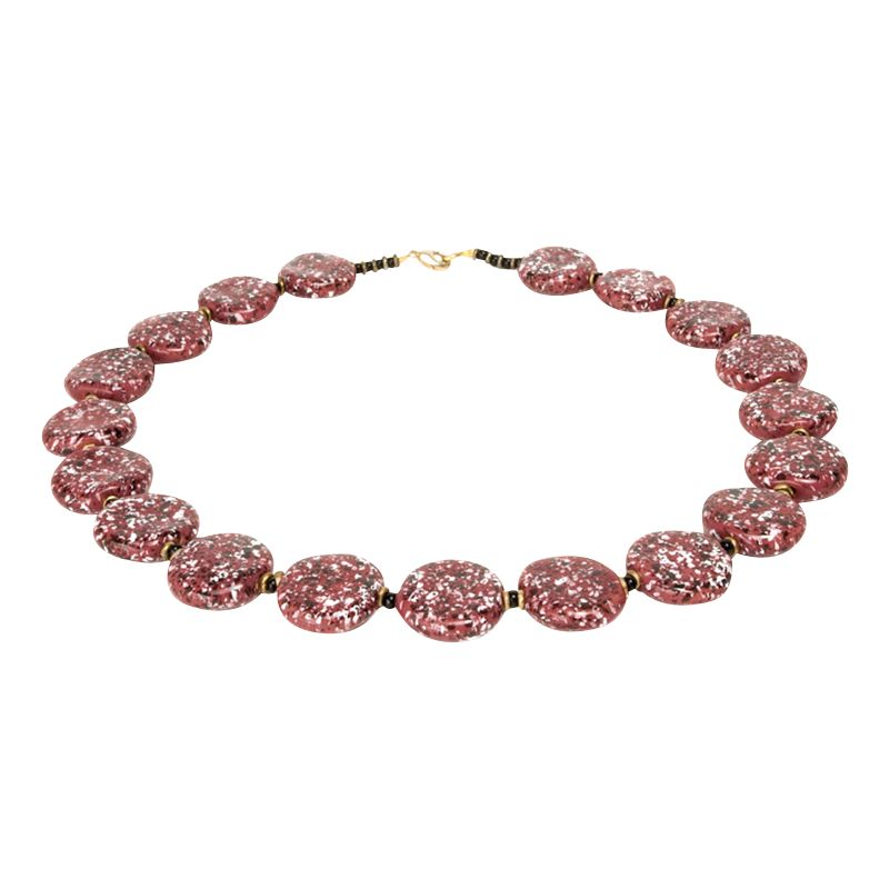 Kazuri Smartie Pink Splash Necklace