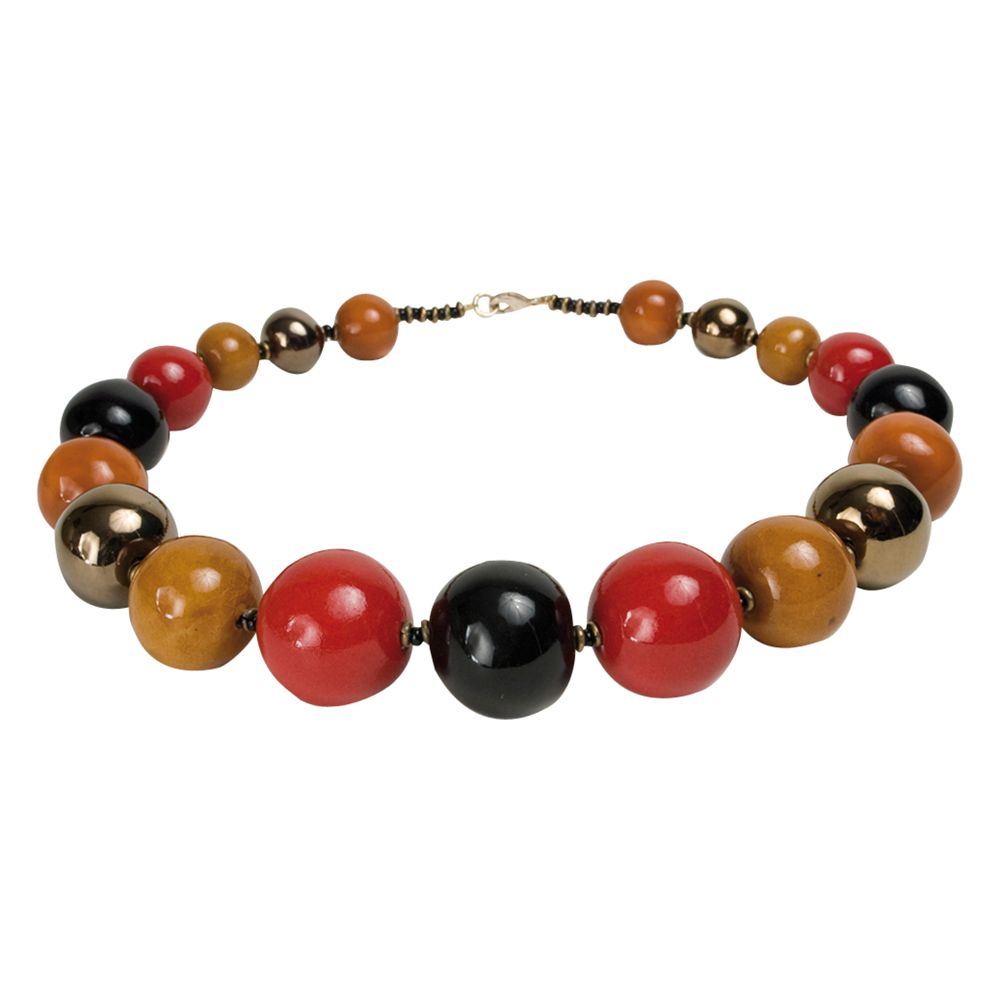 Kazuri Tango Round Ceramic Bead Necklace, Gabra