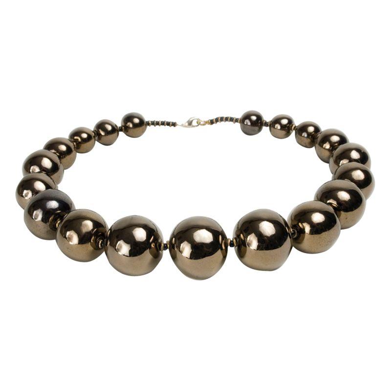 Kazuri Tango Gold Ceramic Bead Necklace, Metallic