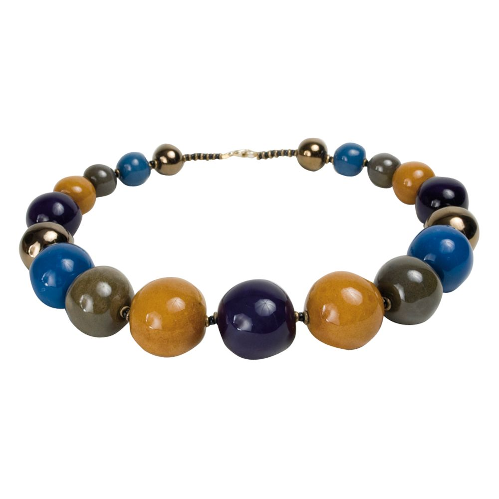 Kazuri Tango Lapis Ceramic Bead Necklace, Multi