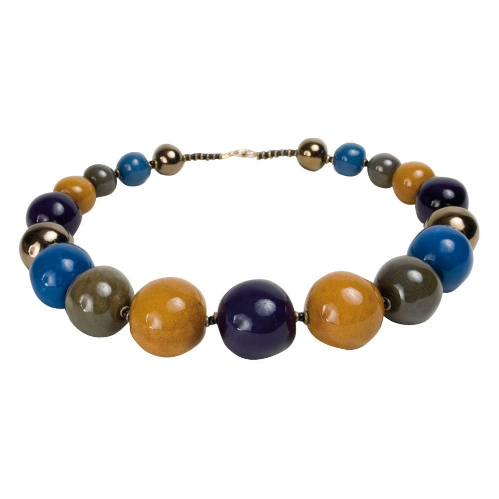 Kazuri Tango Lapis Ceramic Bead Necklace, Multi