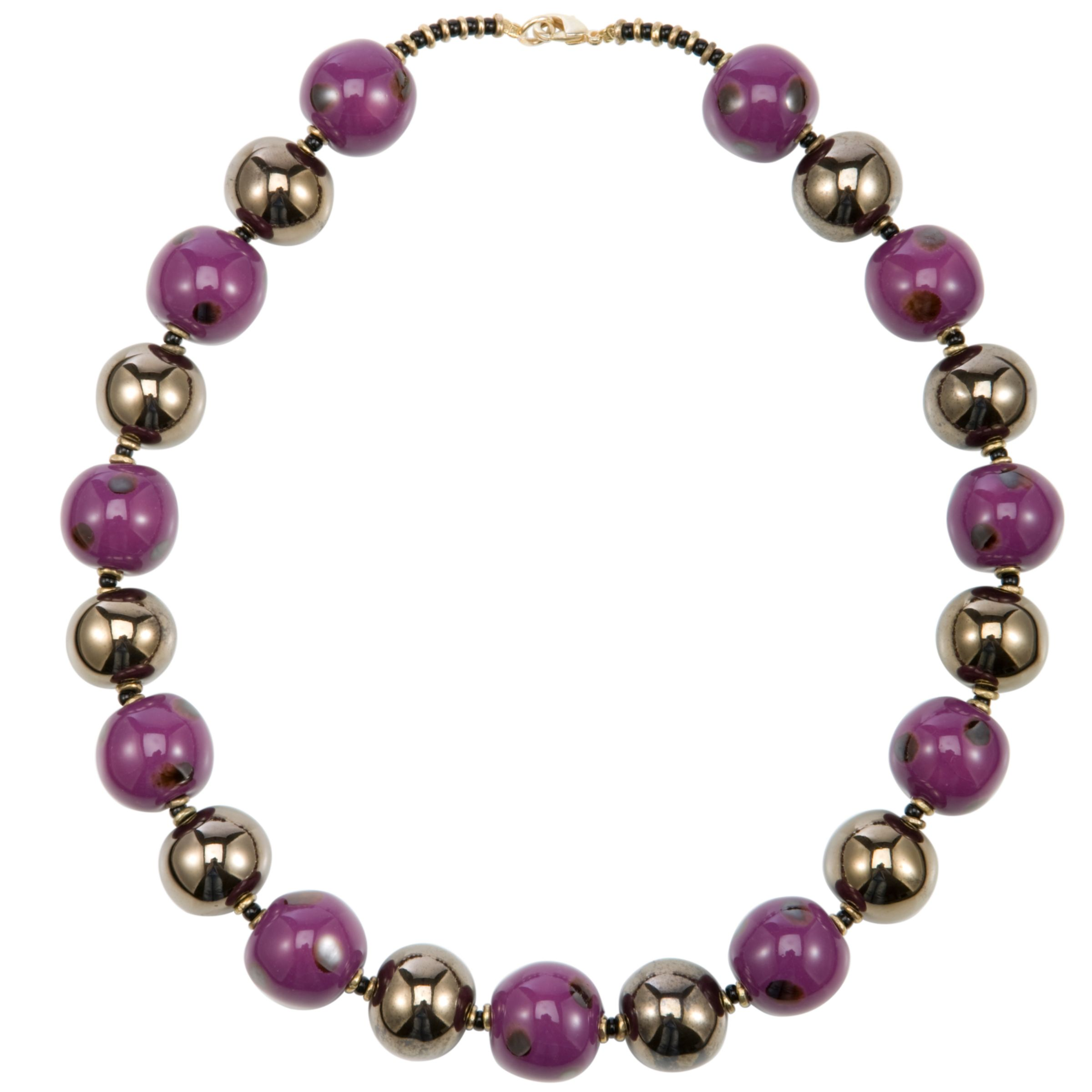 Kazuri Ting Ting Ceramic Bead Necklace, Gold/Violet