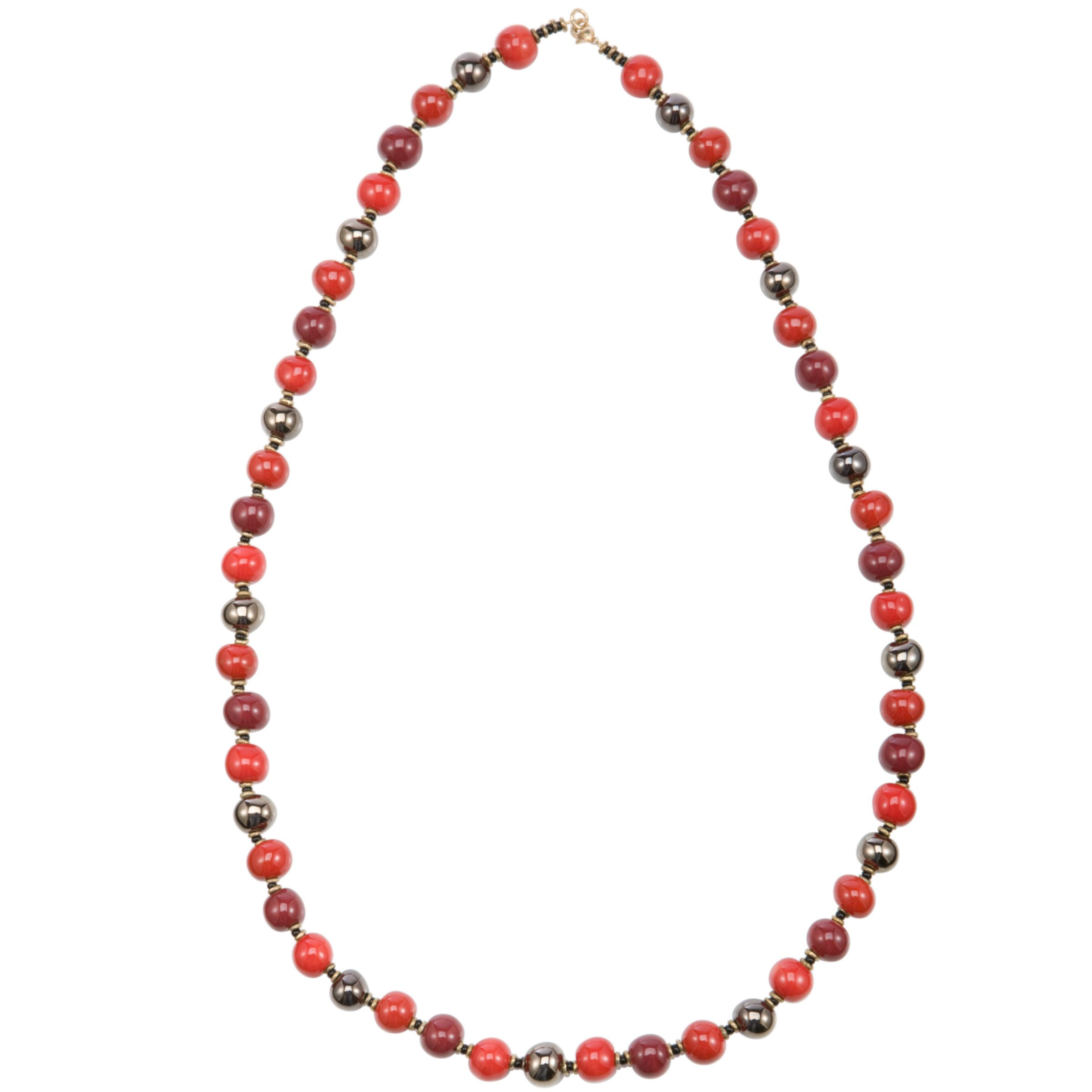 Kazuri Balloon Ceramic Bead Firefly Necklace, Red
