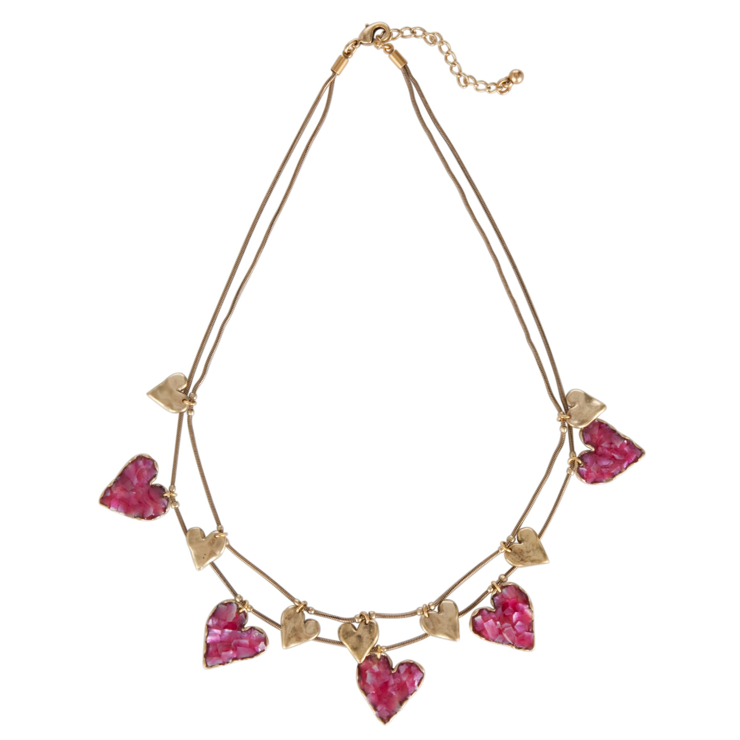 One Button Double Row Dangling Hearts Necklace, Pink