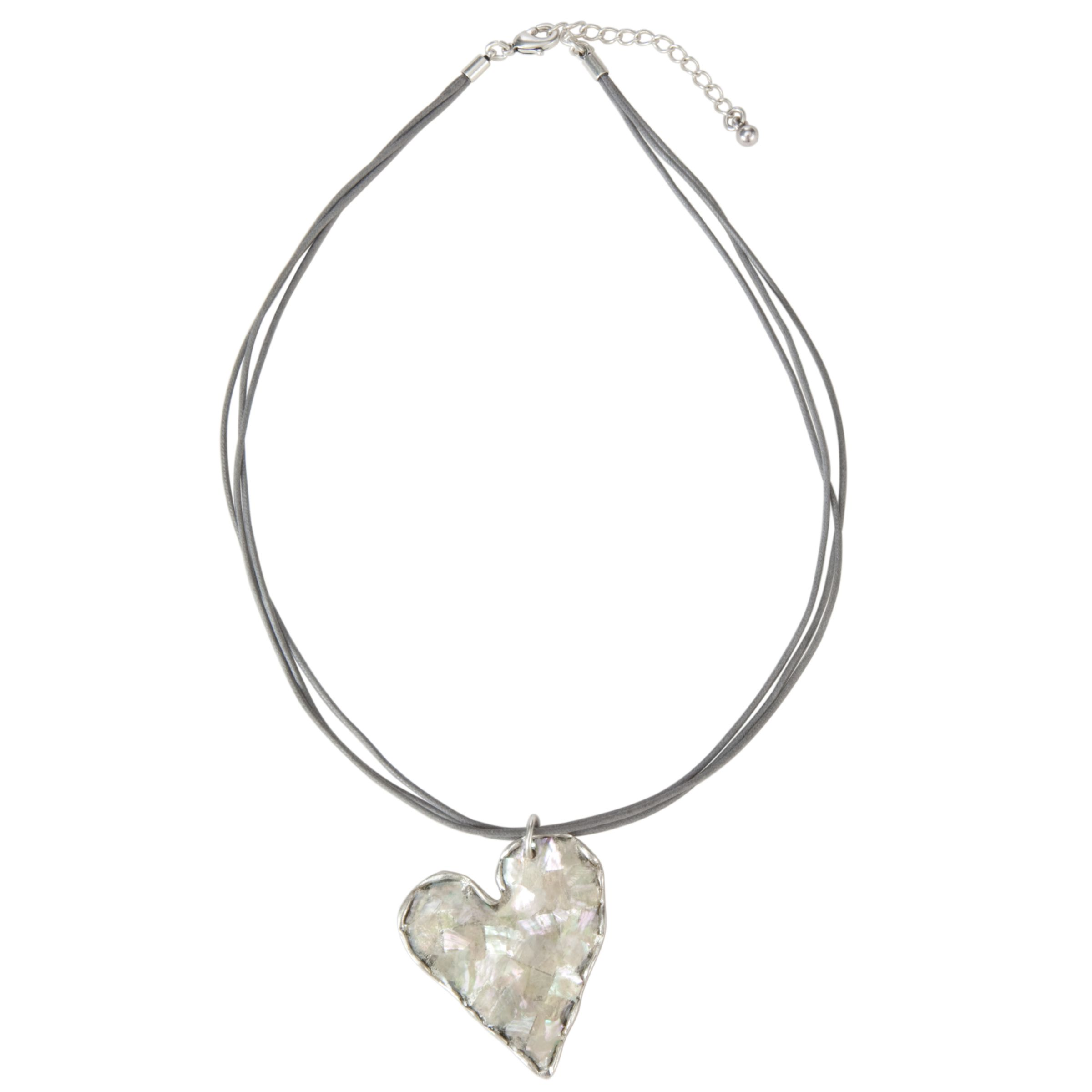 One Button Cord Single Heart Drop Pendant Necklace, Pearl