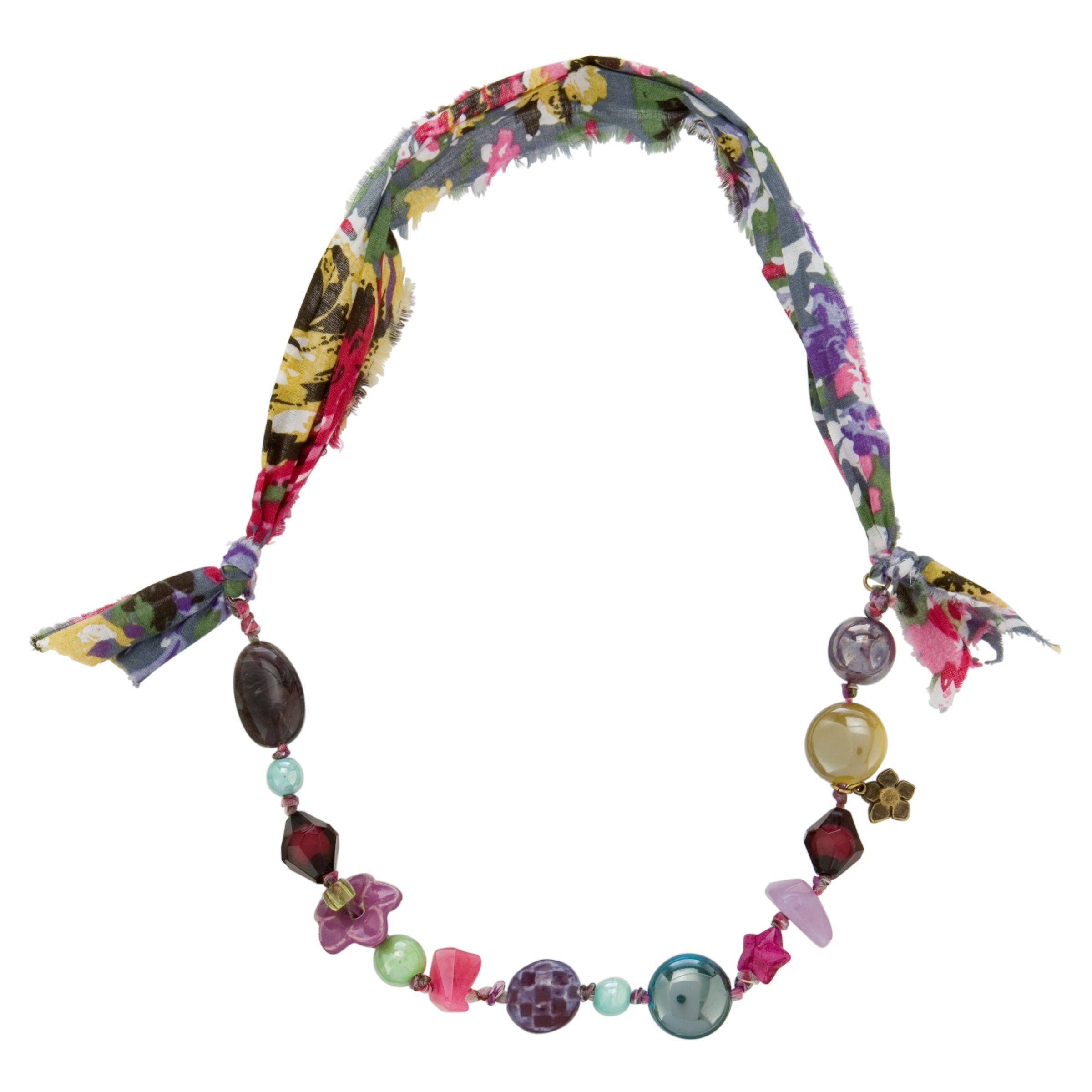 One Button Assorted Ceramic Flower Beads Necklace