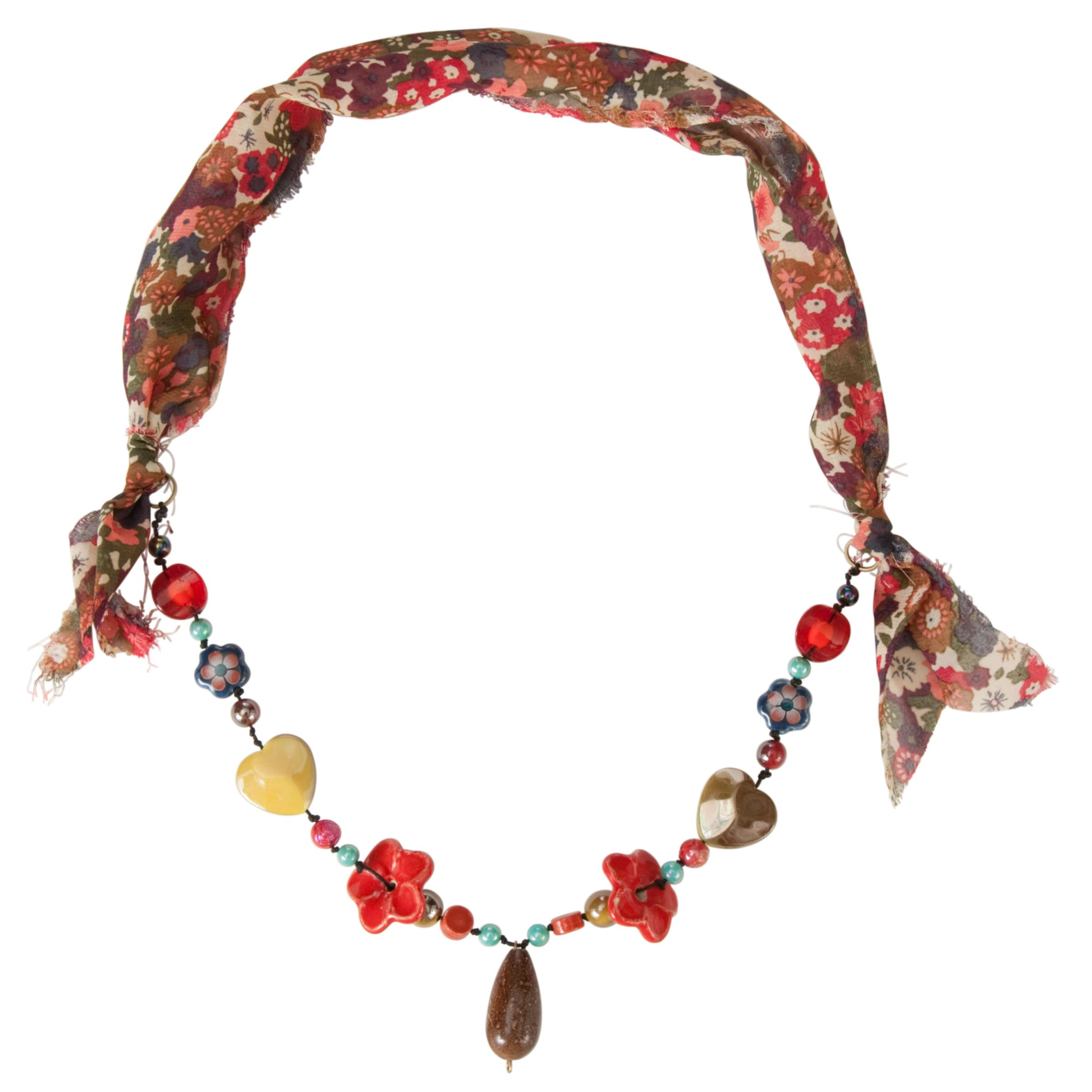 One Button Assorted Flower Beads Necklace, Cinamon/Brown