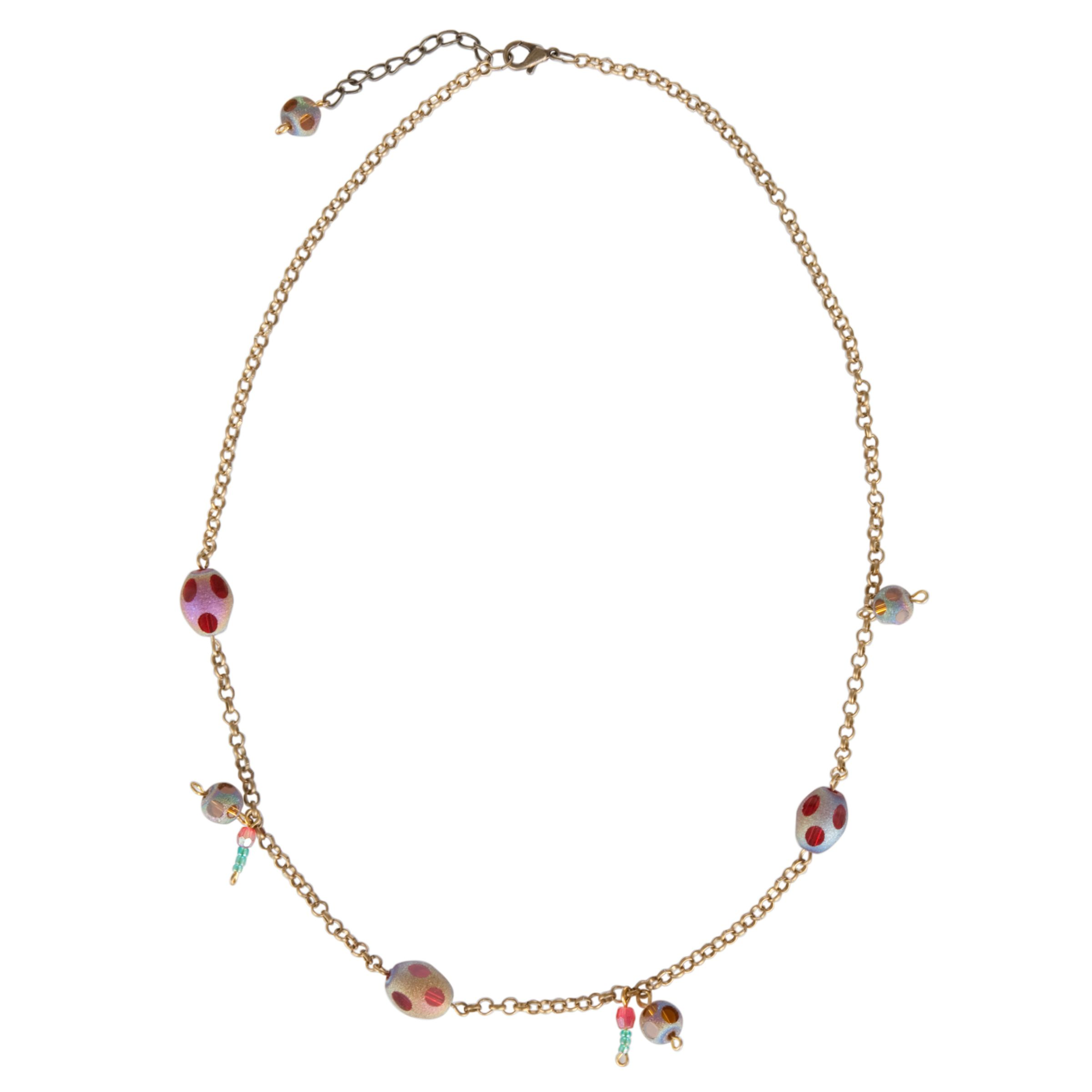 One Button Assorted Glass Bead Necklace, Multicoloured