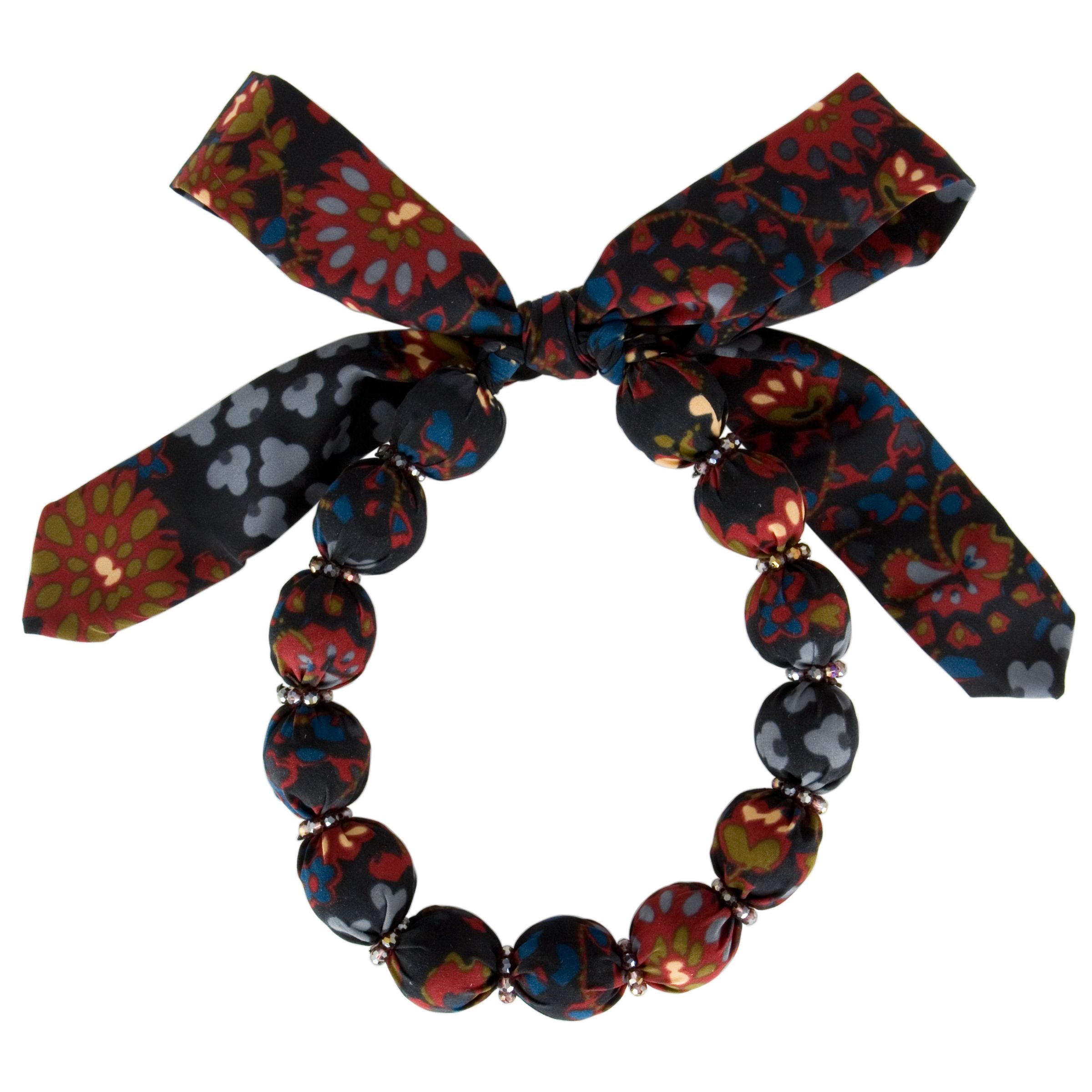 One Button Printed Fabric Bead Short Necklace
