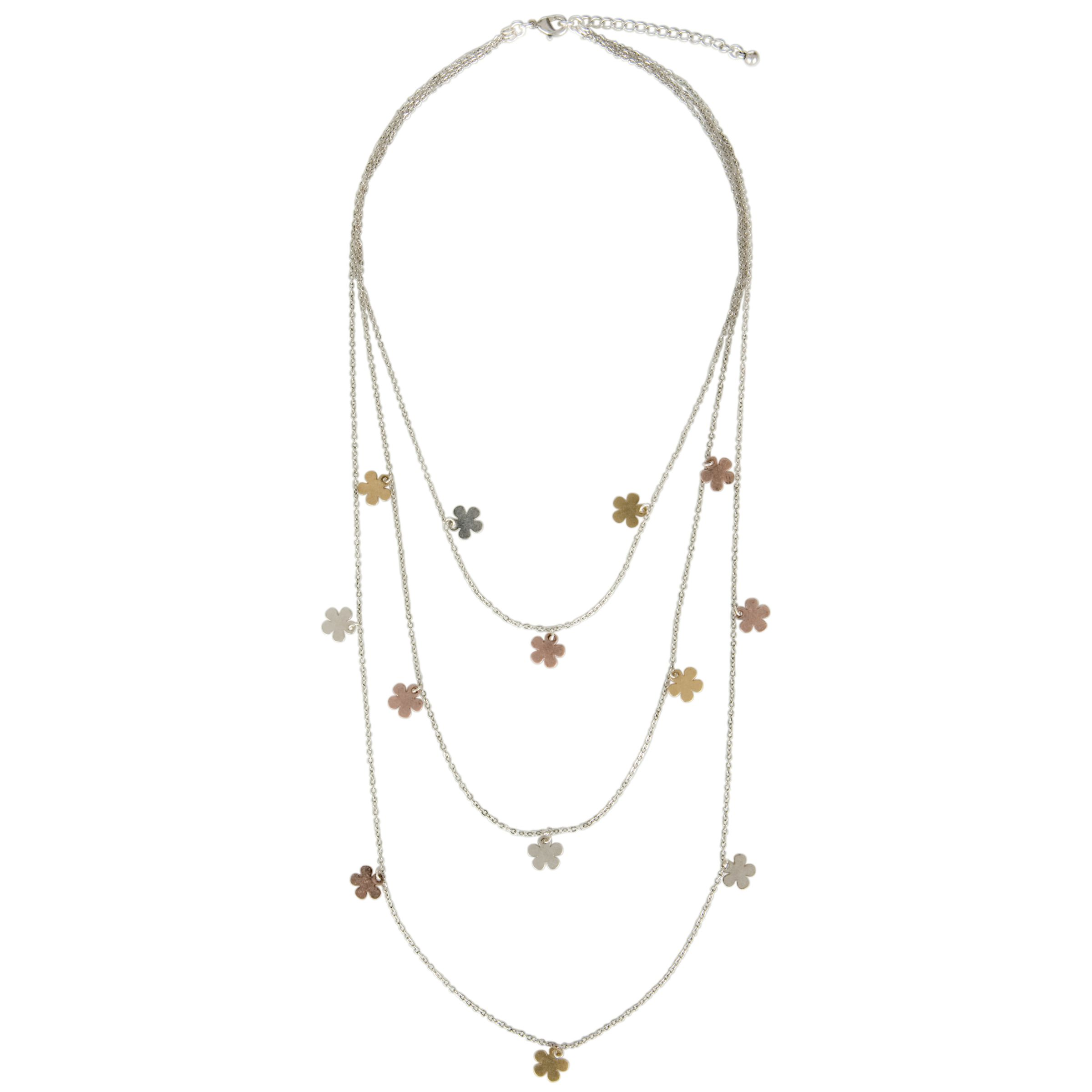 One Button Long Daisy Triple Row Necklace