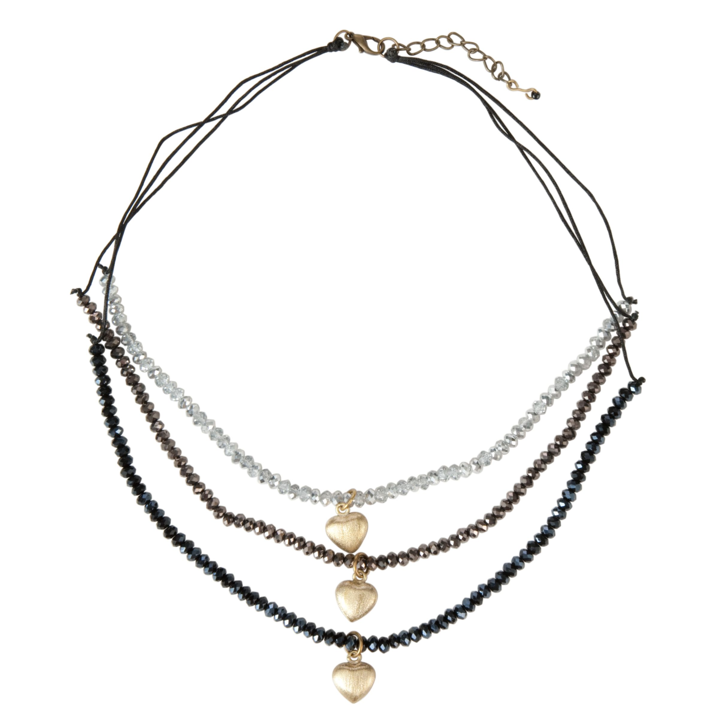 One Button Triple Crystal Row Heart Drop Necklace, Grey