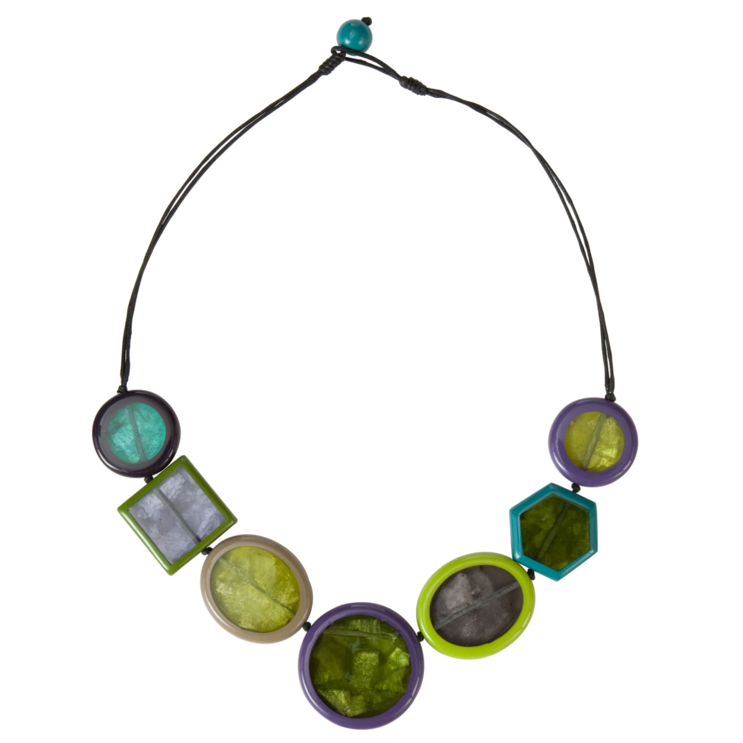 One Button Flat Shaped Necklace, Lime
