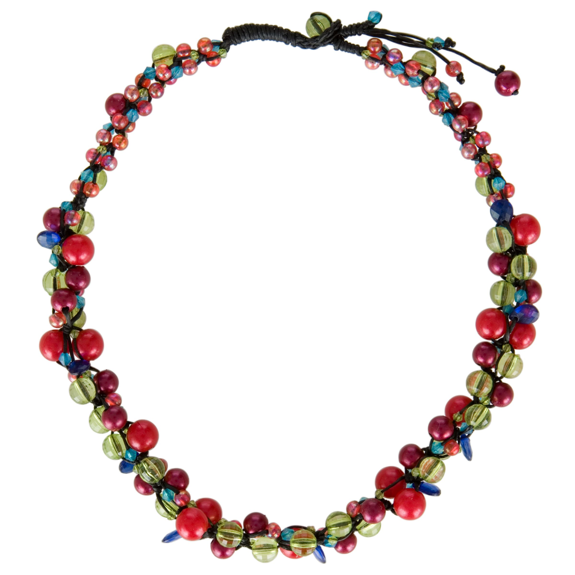 One Button Assorted Bead Cluster Woven Necklace, Lime/Assorted