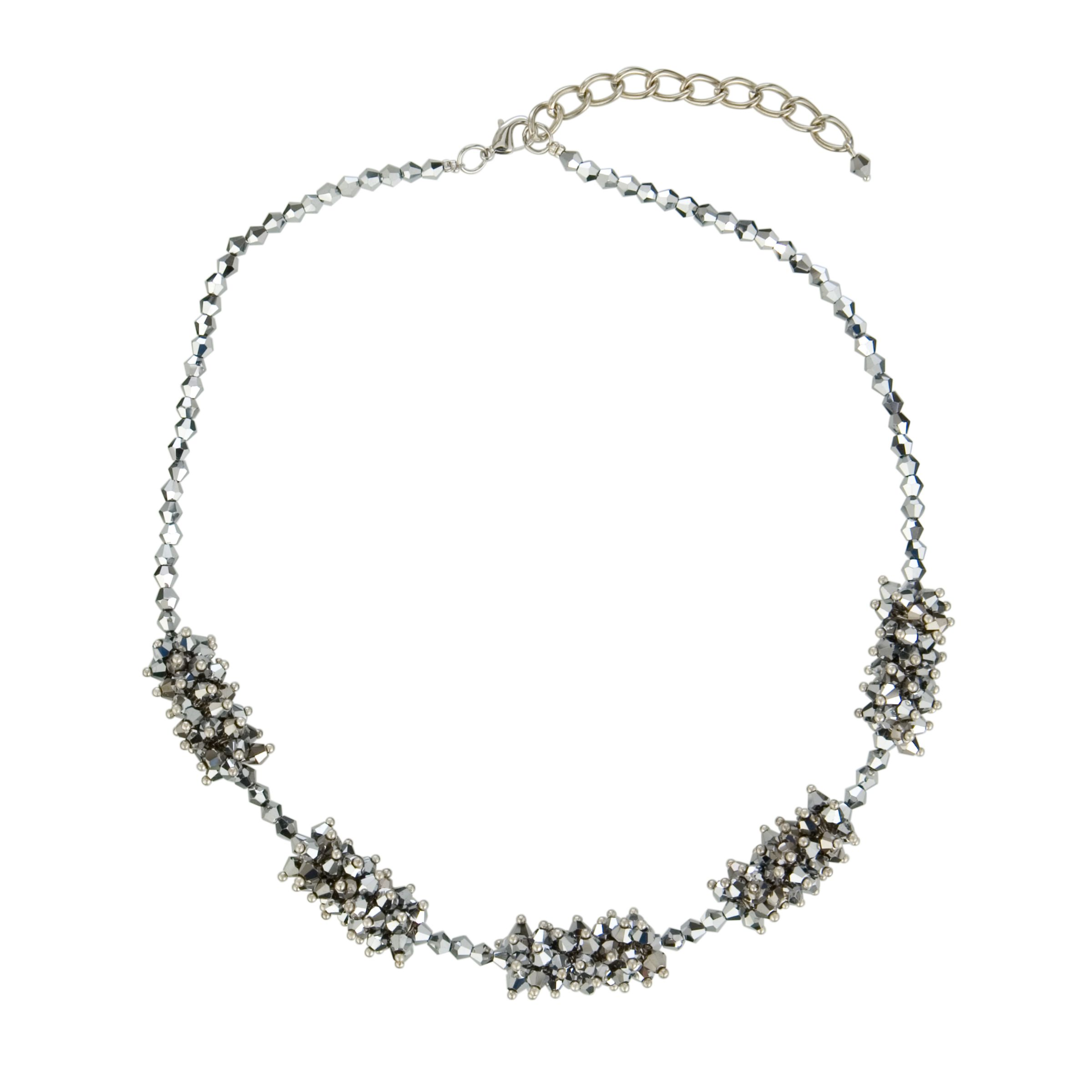 One Button Crystal Sections Necklace, Hematite
