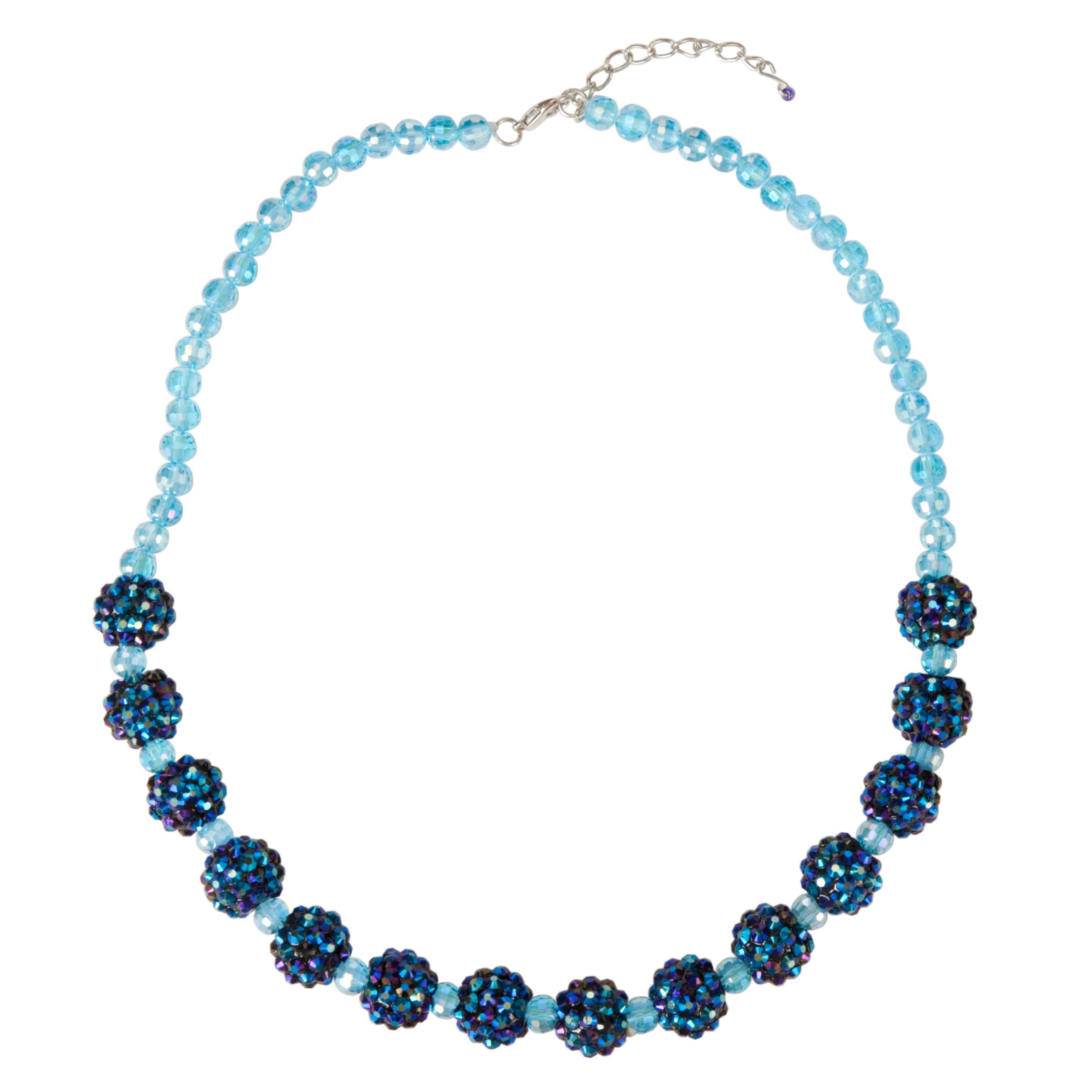 One Button Sparkle Bead Necklace, Electric Blue