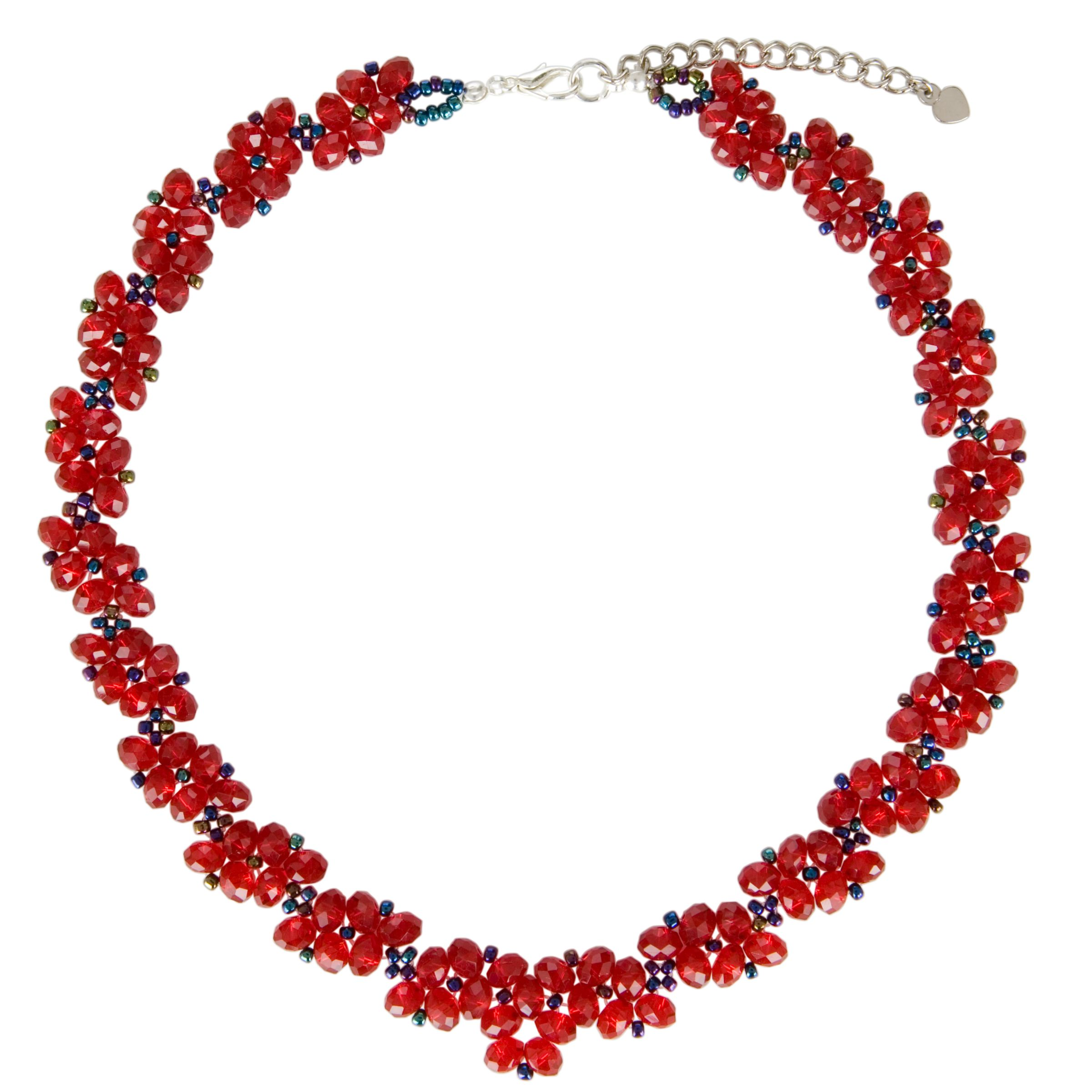One Button Crystal Sparkle Necklace, Ruby