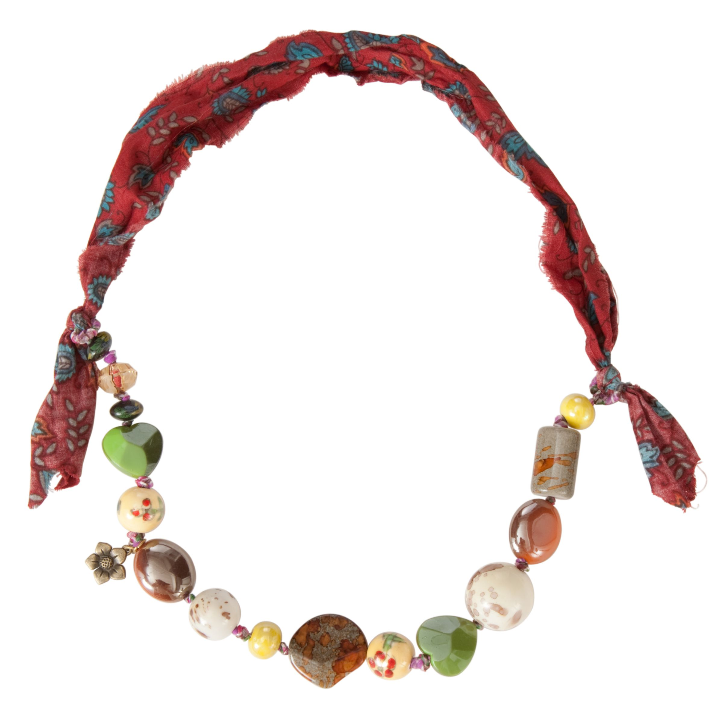 One Button Assorted Ceramic Splatter Beads Necklace, Coffee