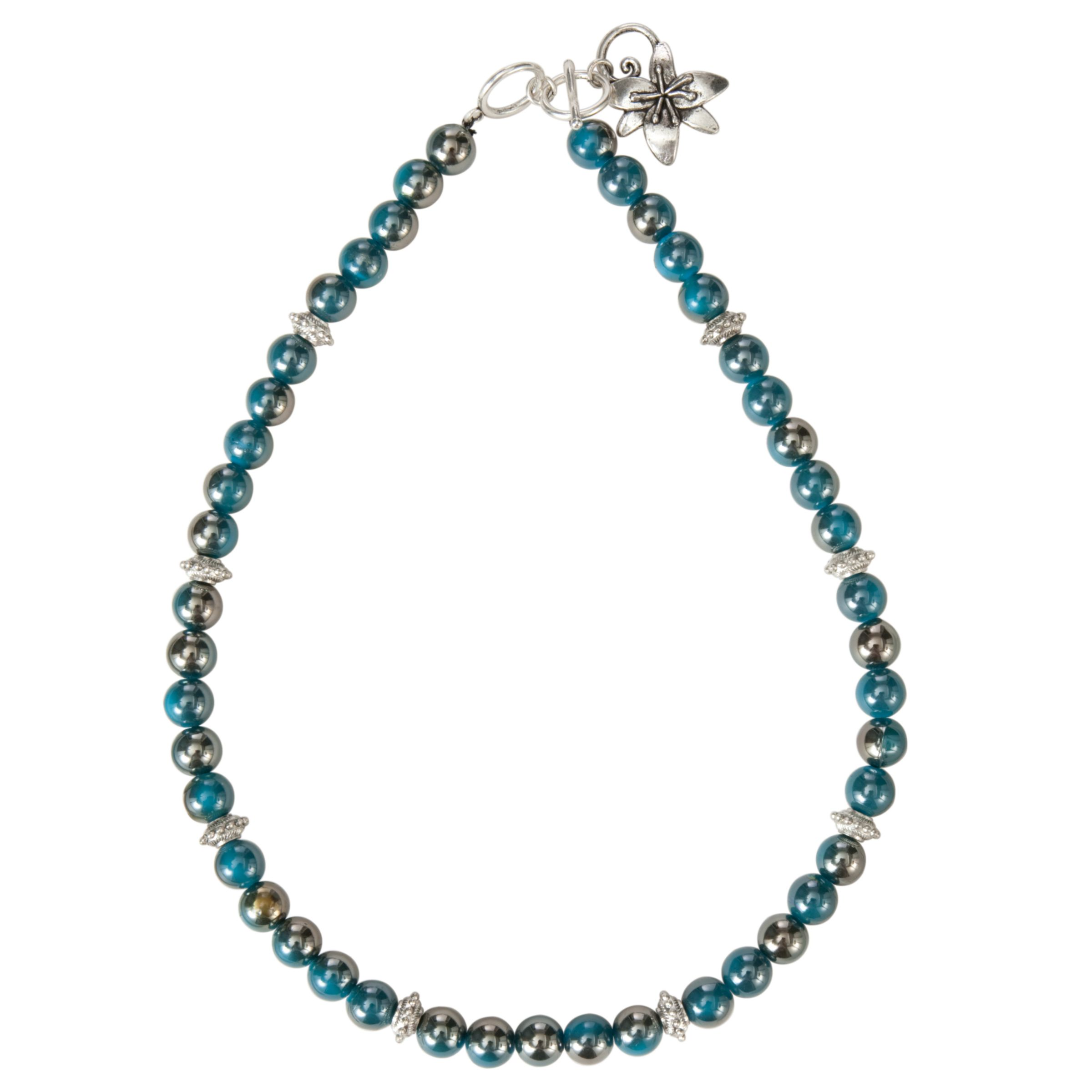 One Button Pearlised Beads Flower T-Bar Necklace, Teal