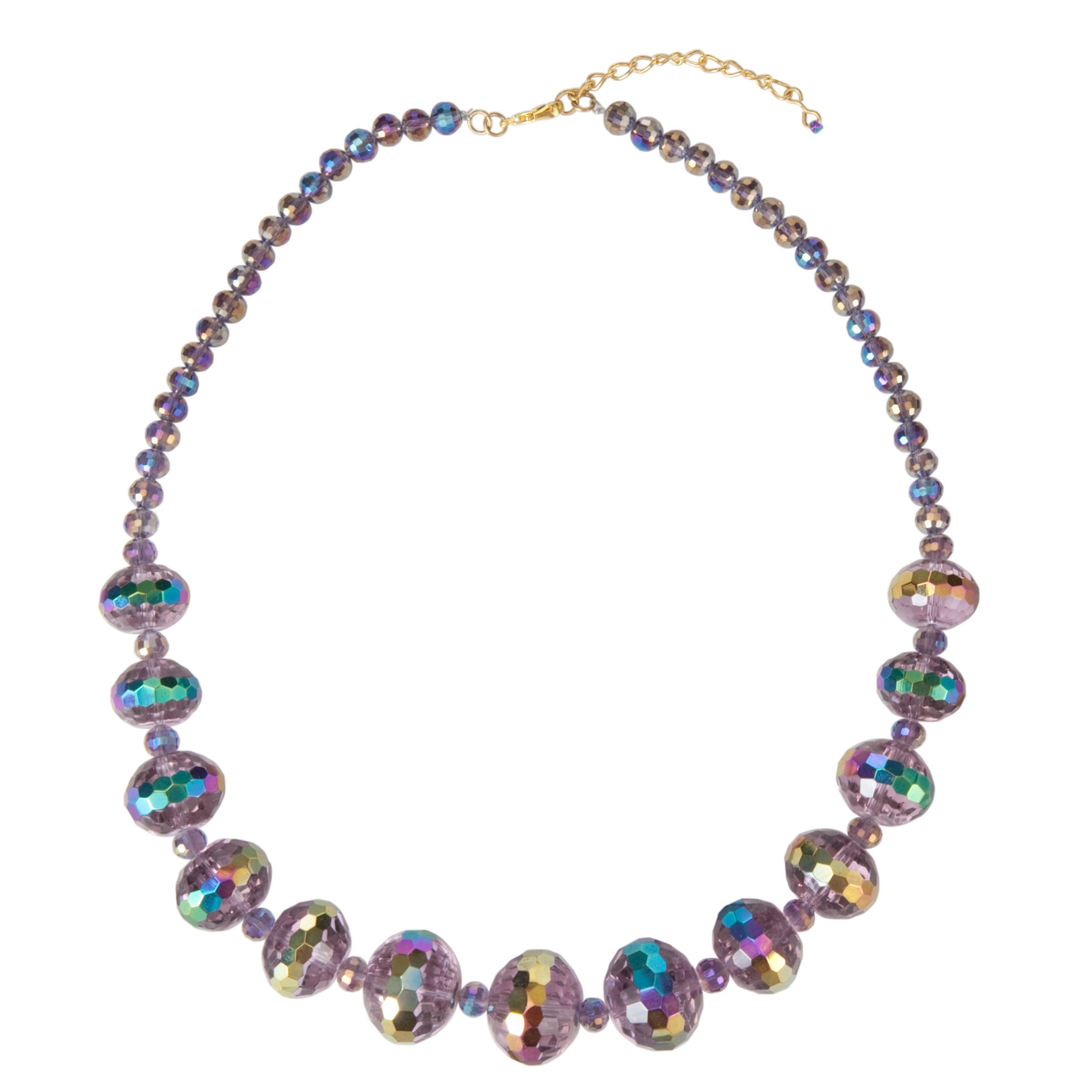 One Button Glass Bead Necklace, Lilac