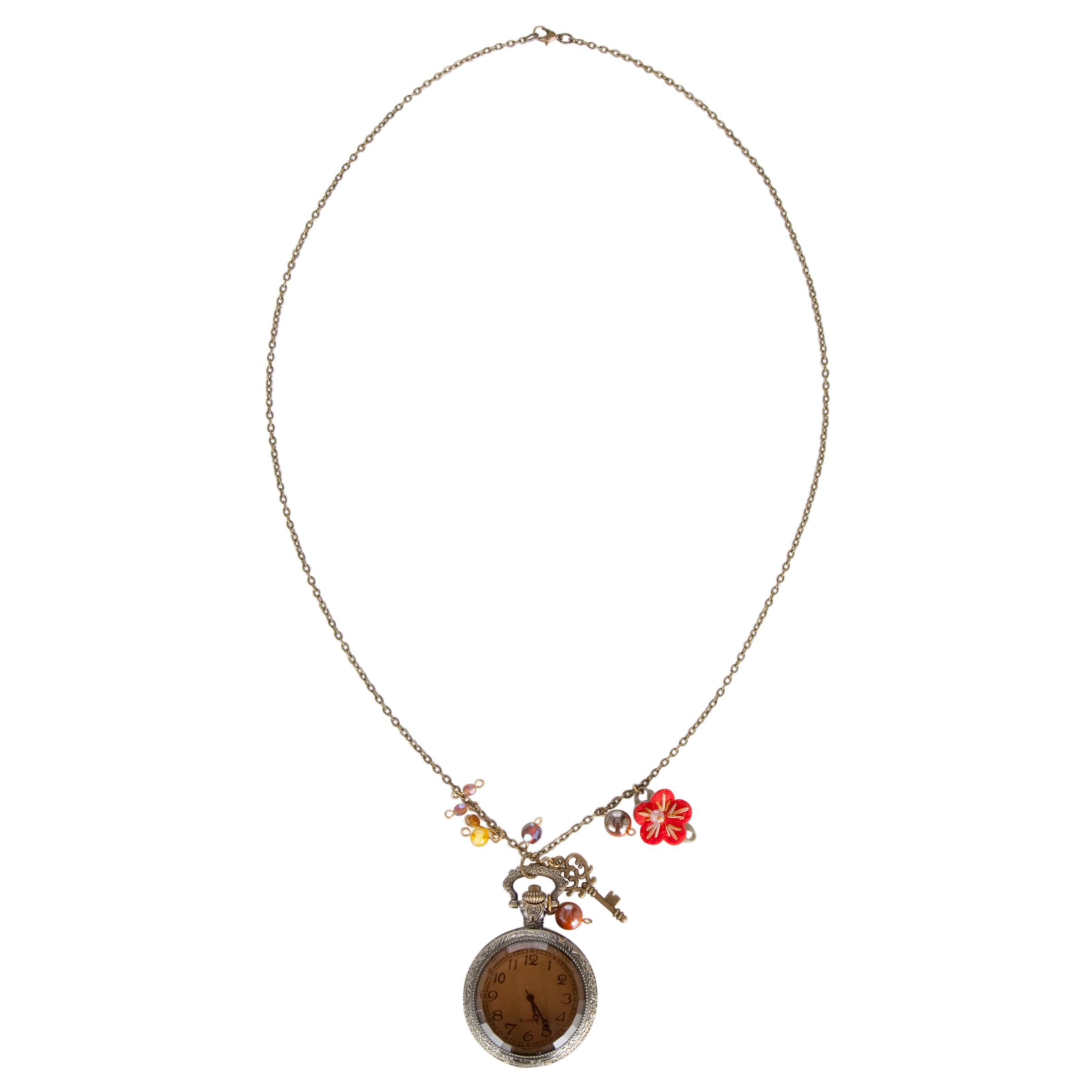 One Button Open Clock Red Flower Pendant Necklace, Antique Gold