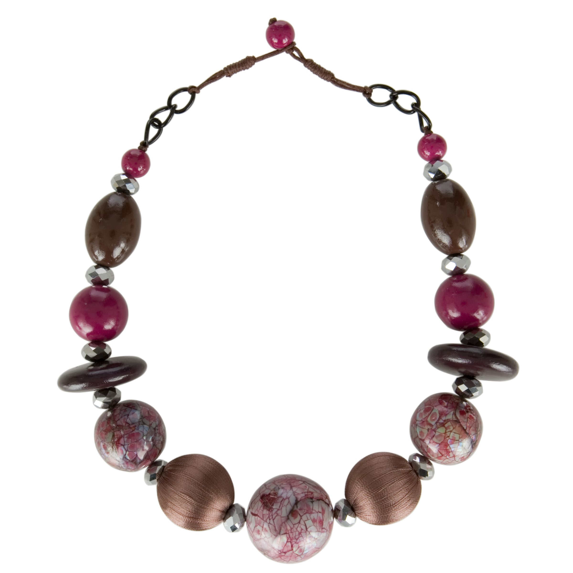 One Button Short Textured Beads Necklace, Fuschia/Damson