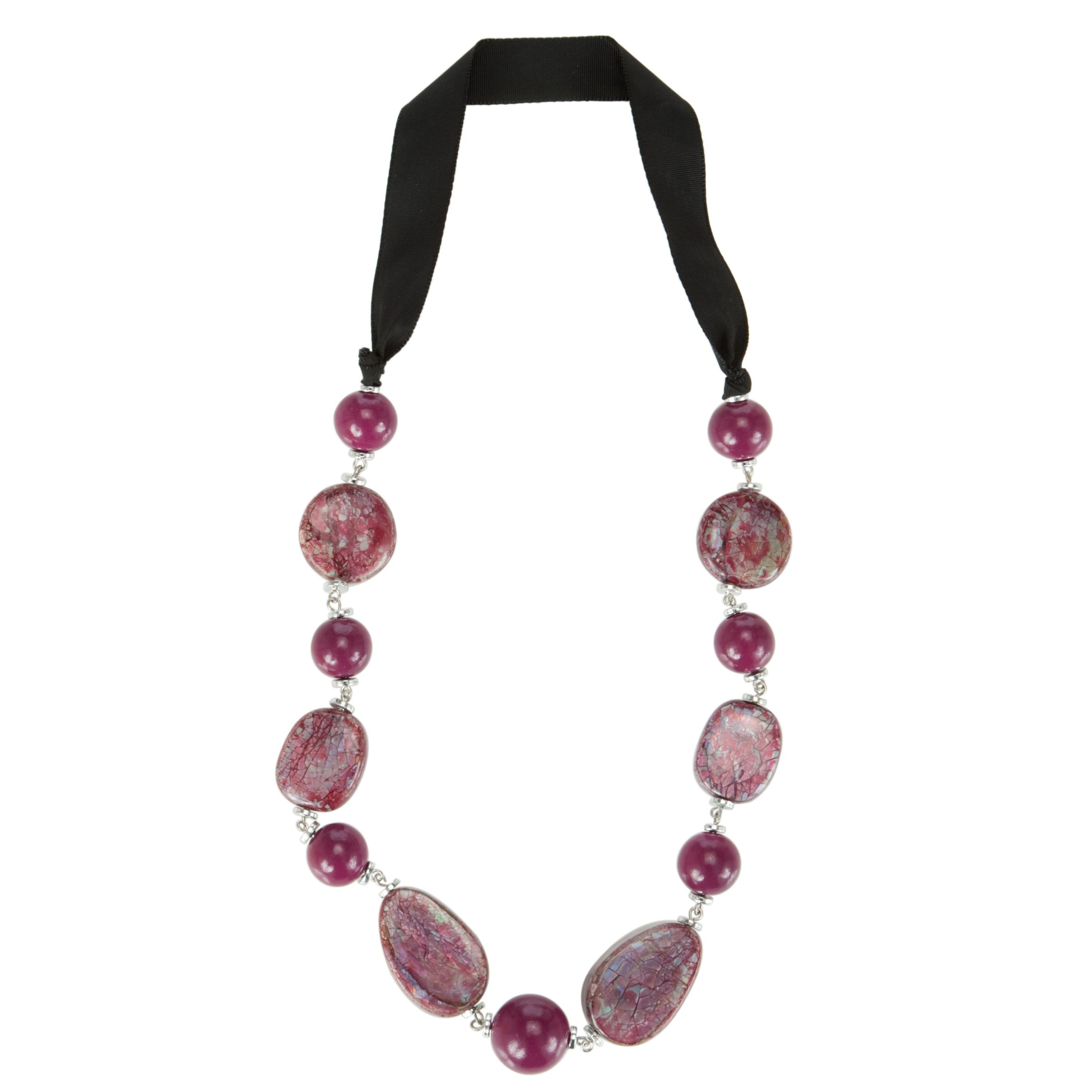 One Button Mop Beaded Necklace, Fuchshia/Damson