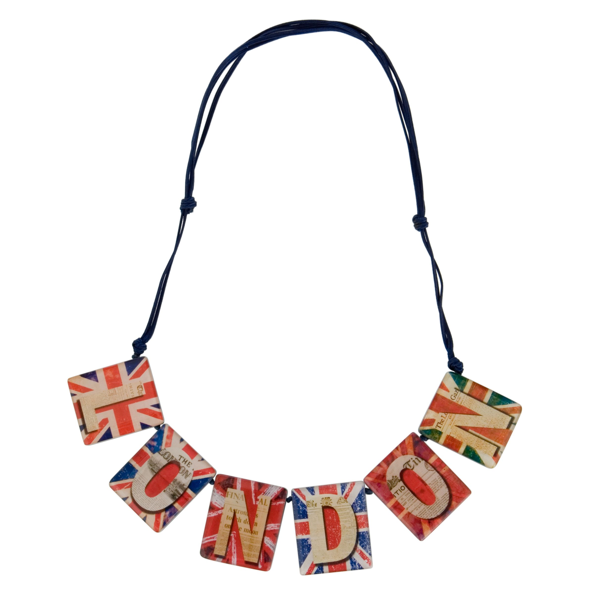 One Button 6 Piece London Union Jack Necklace, Multicoloured