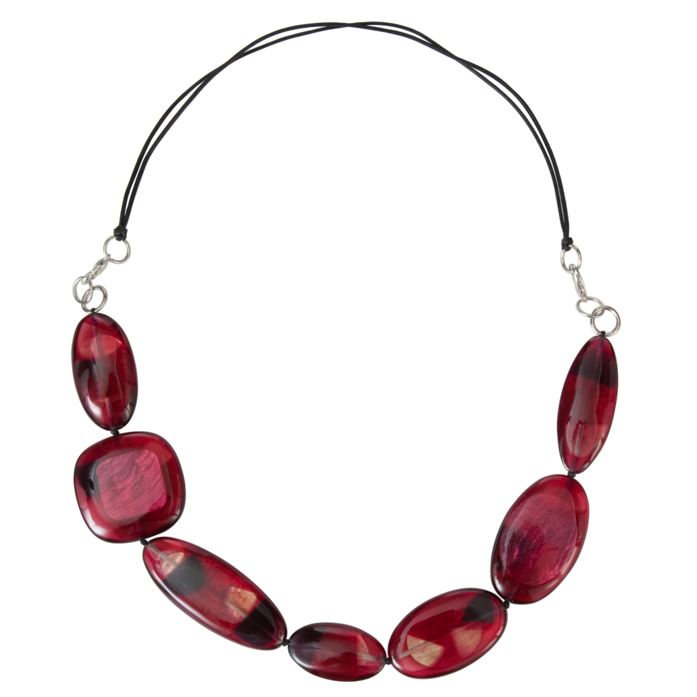 One Button Large Flat Resin Necklace, Red