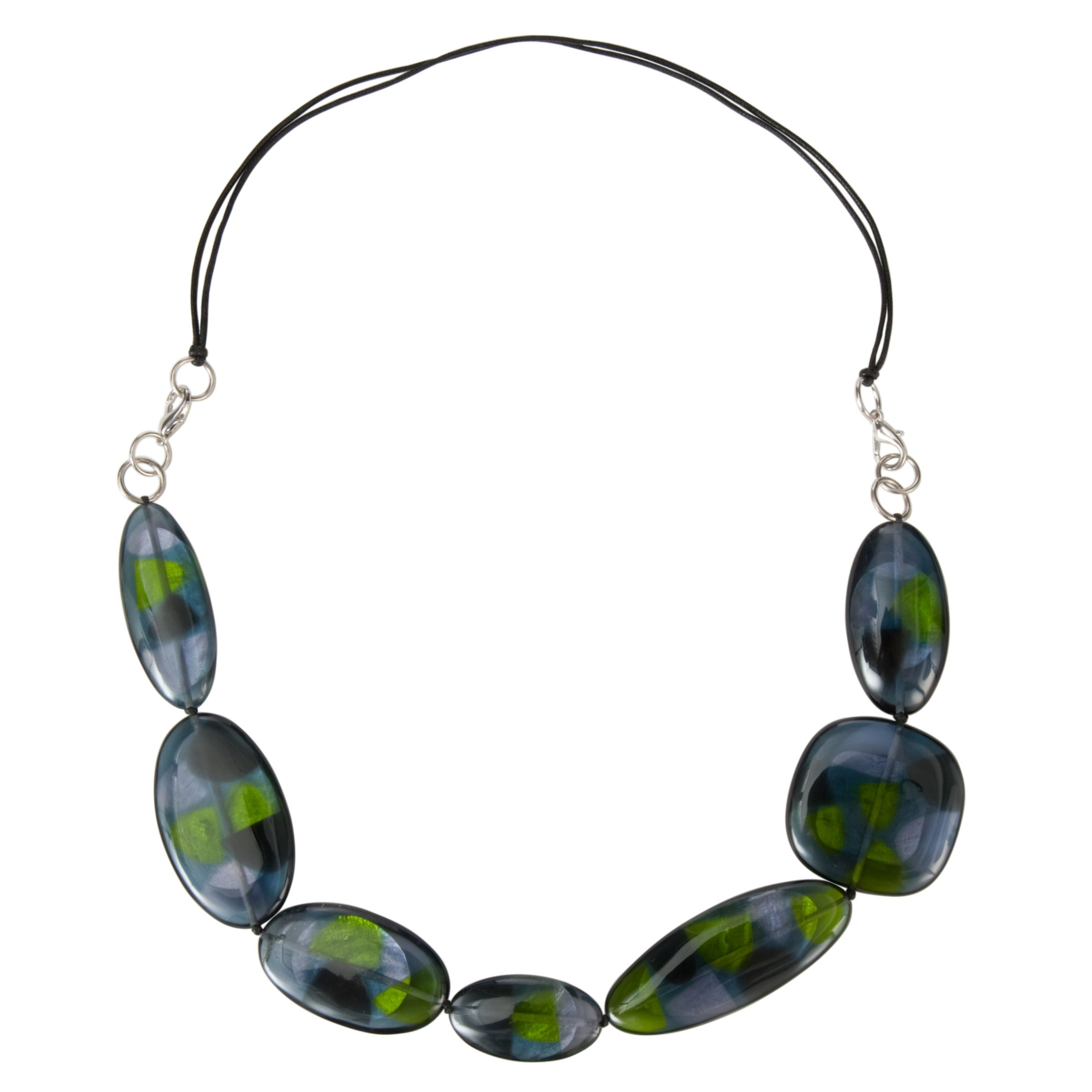 One Button Large Flat Resin Necklace, Grey/Lime