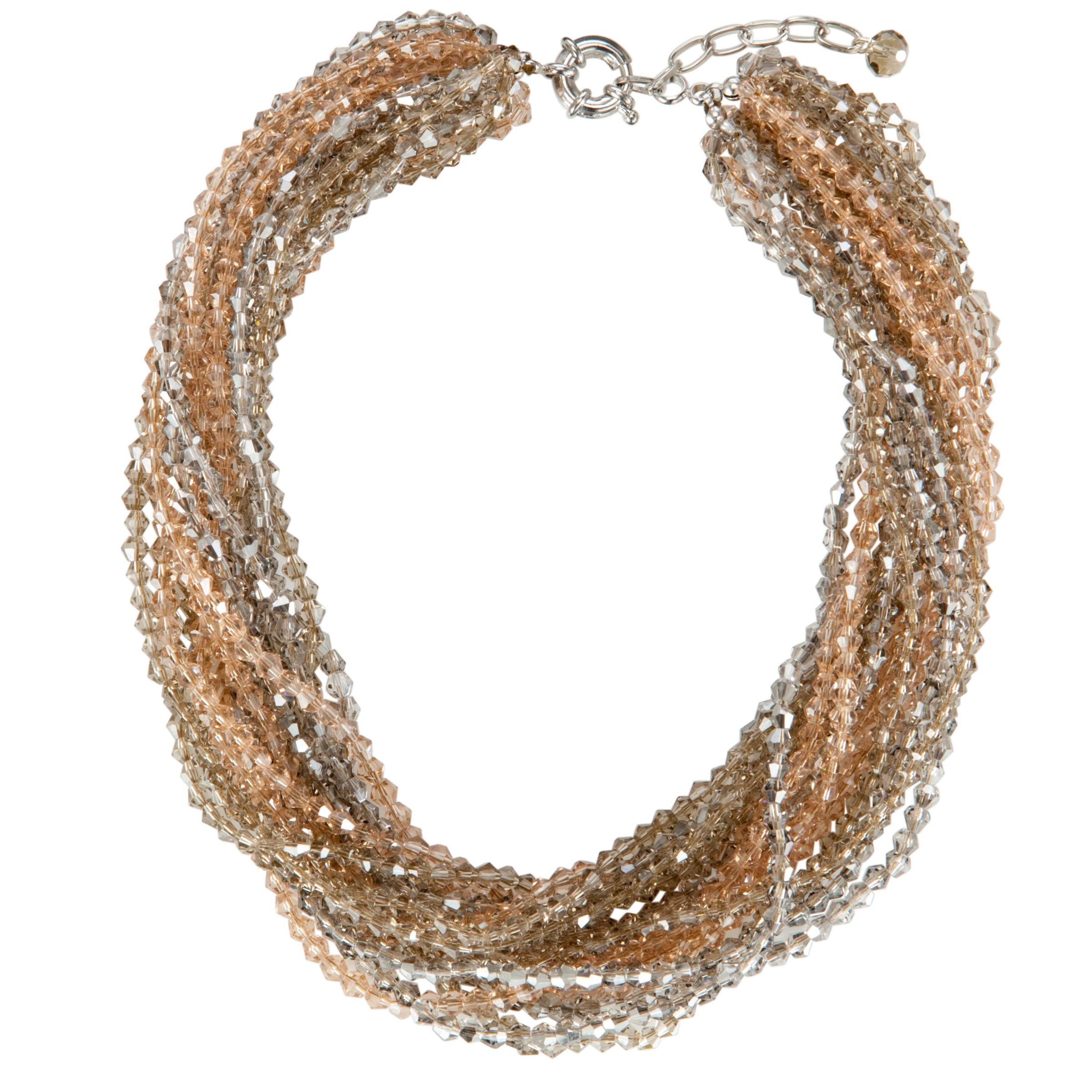 One Button Multi Strand Mini Facet Sparkle Necklace, Multi