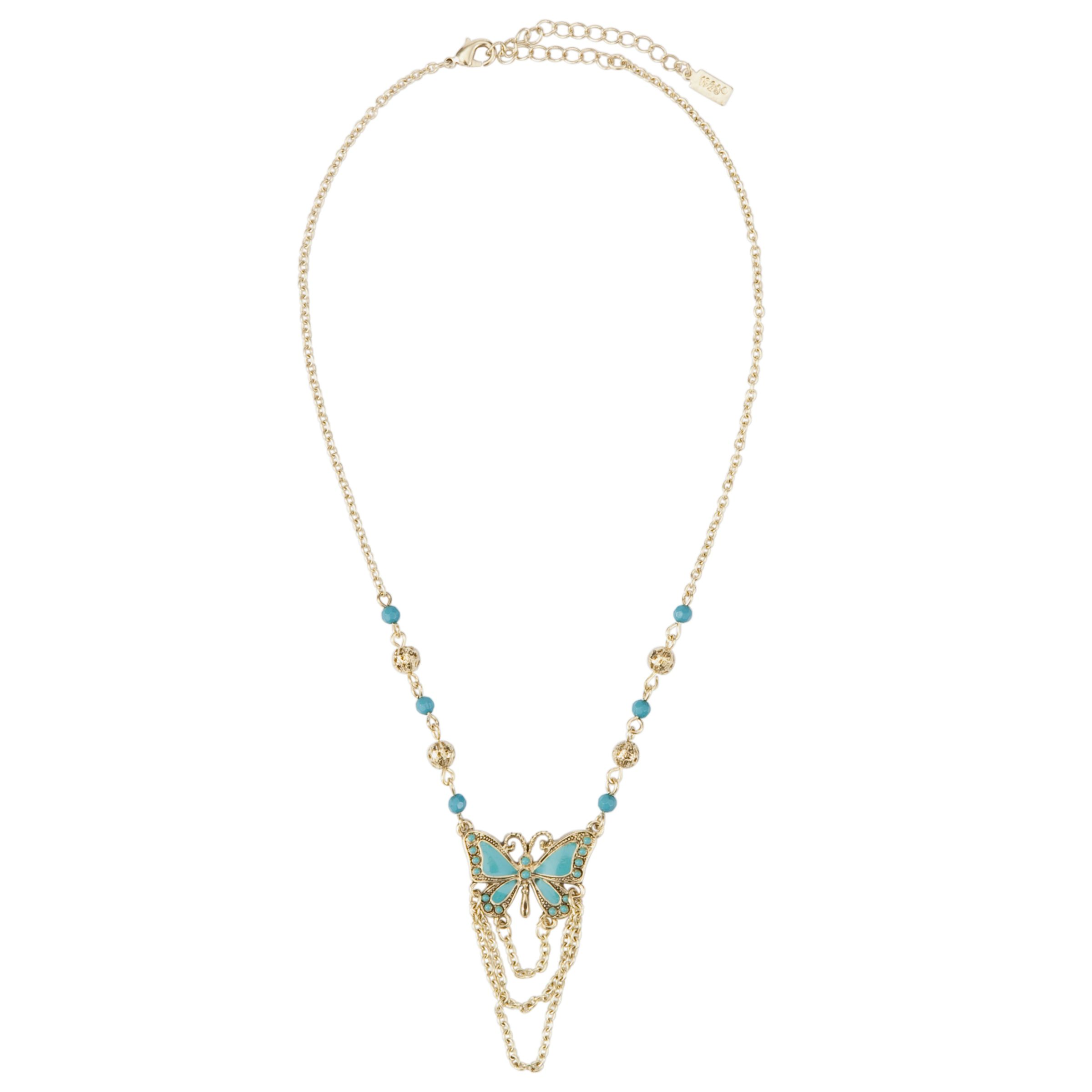 1928 New York Turquoise Fantasy Butterfly Brass Chain Necklace